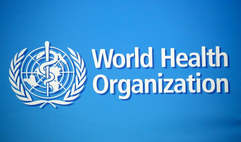 A logo is pictured at the World Health Organization (WHO) building in Geneva, Switzerland, February 2, 2020. REUTERS/Denis Balibouse/File Photo
