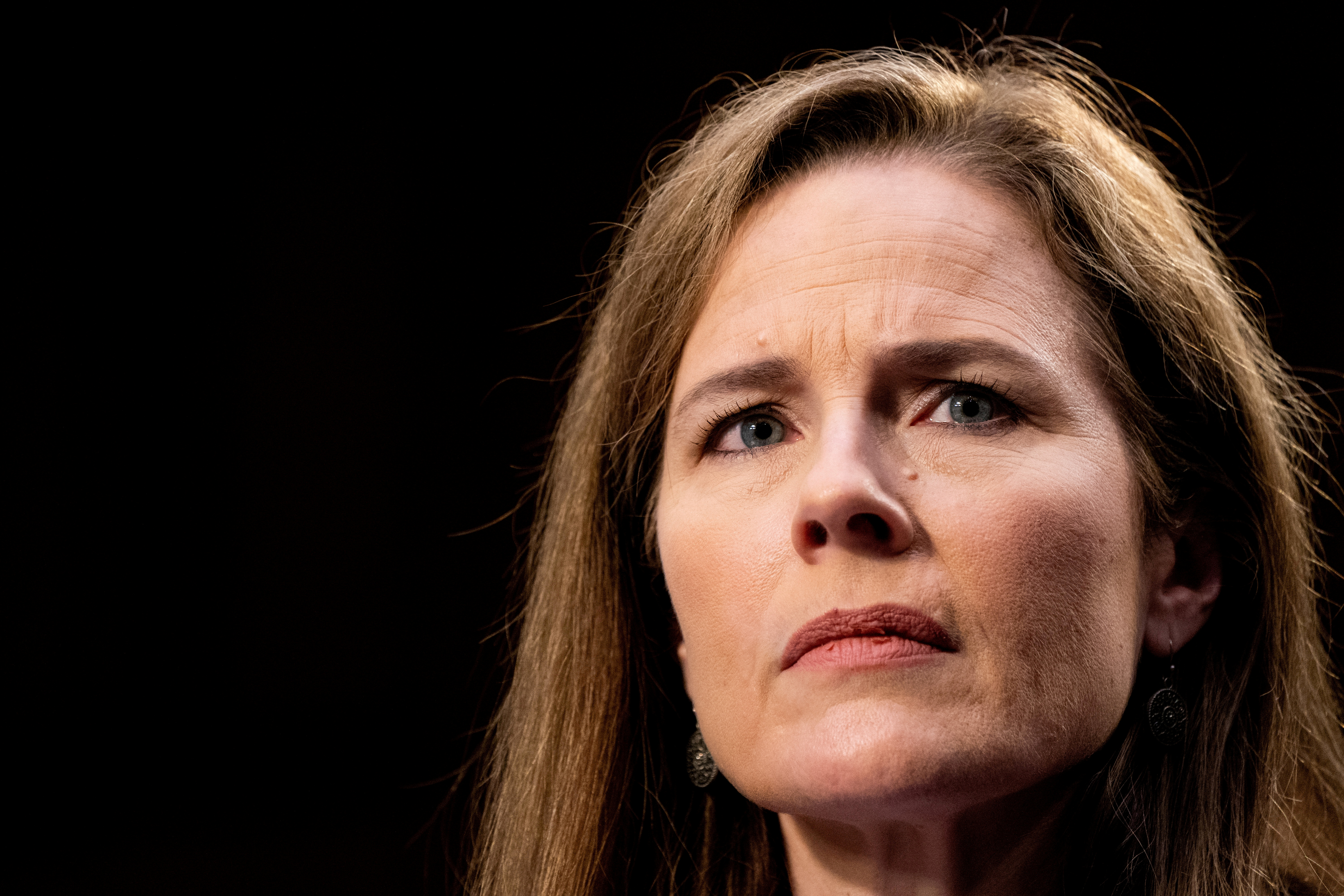 Judge Amy Coney Barrett testifies during the third day of her Senate confirmation hearing to the Supreme Court on Capitol Hill in Washington, DC, U.S., October 14, 2020. Erin Schaff/Pool via REUTERS