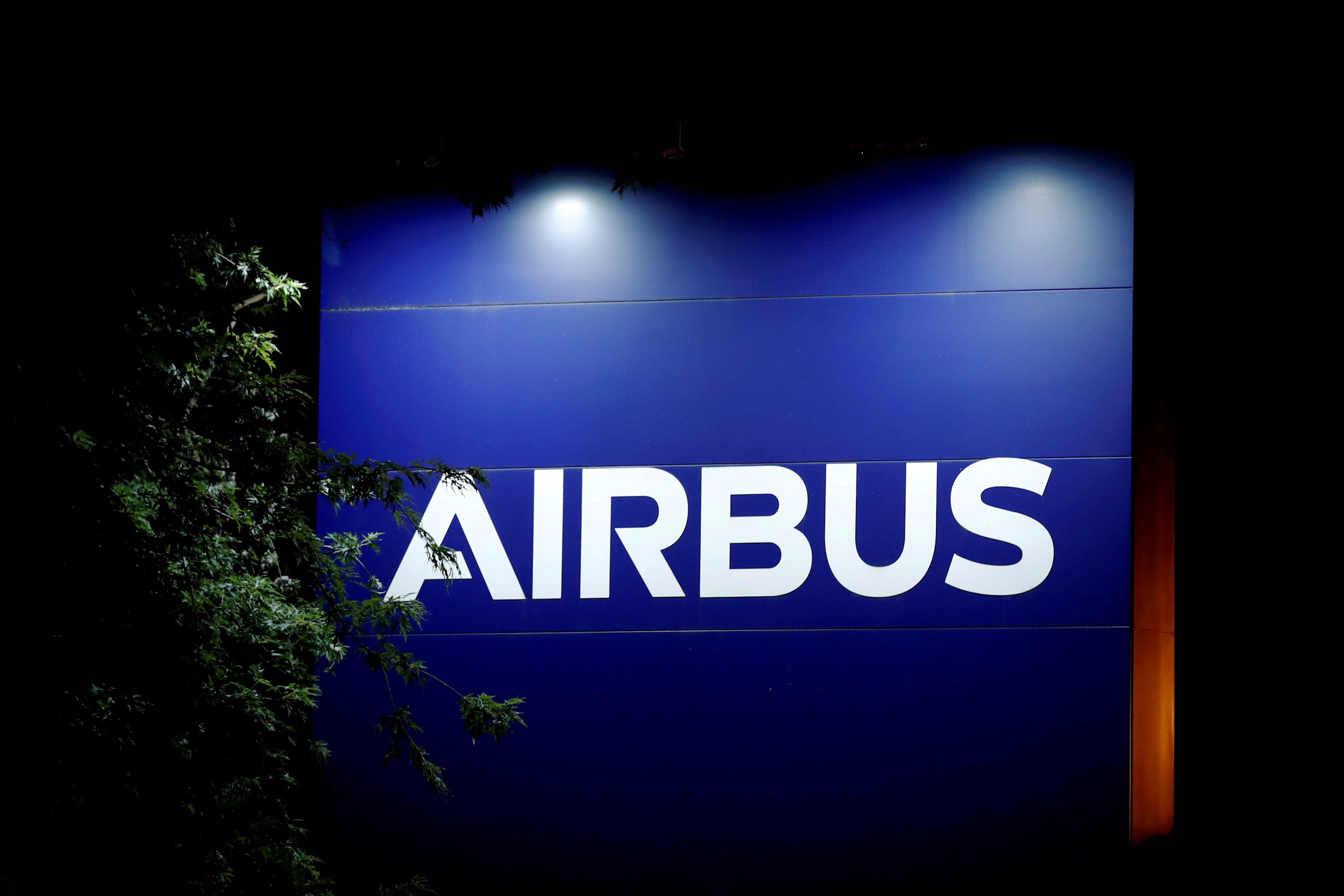 A logo of Airbus is seen at the entrance of its factory in Blagnac near Toulouse, France, July 2, 2020. REUTERS/Benoit Tessier
