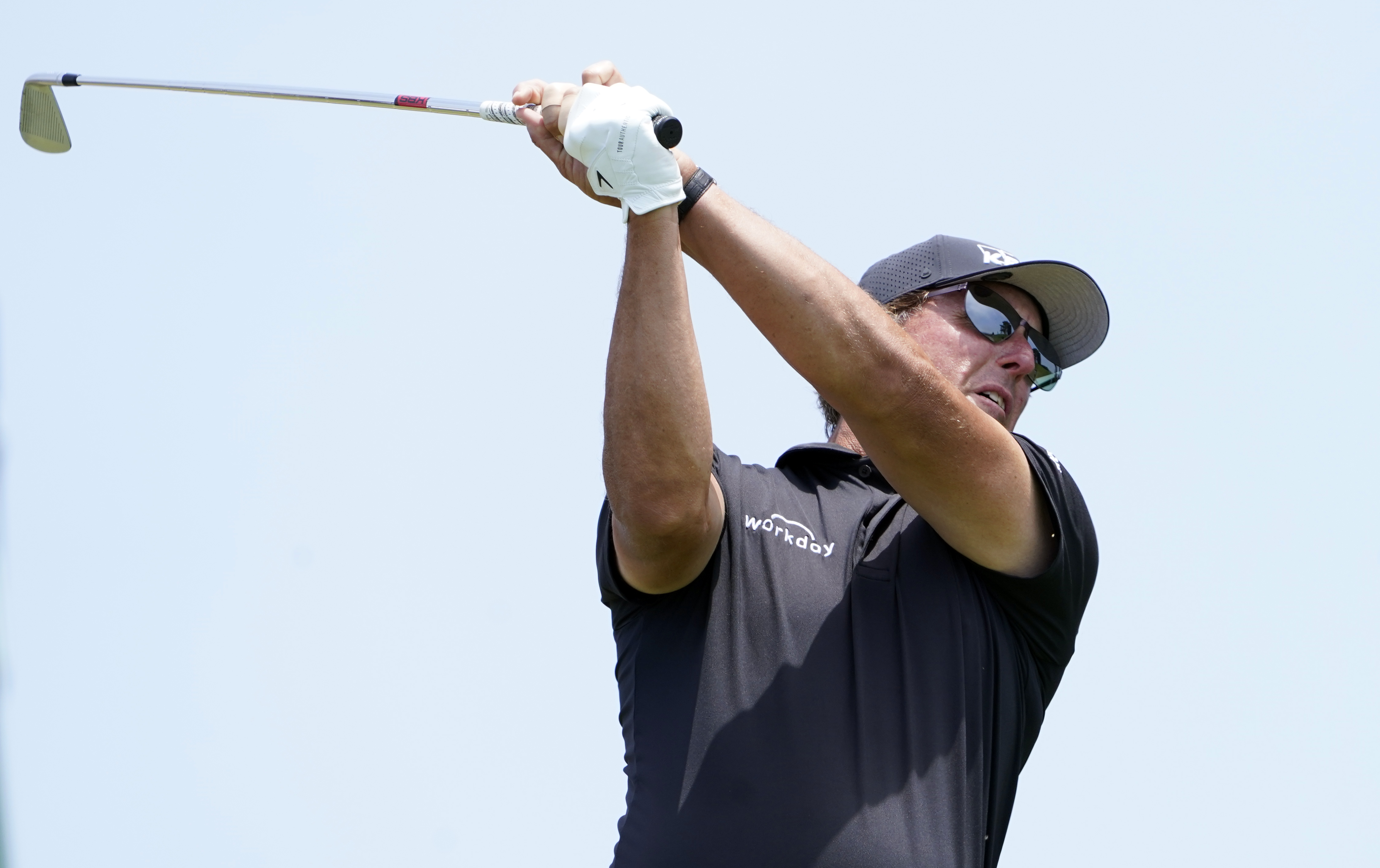 Jun 17, 2021; San Diego, California, USA; Phil Mickelson plays his shot from the third tee during the first round of the U.S. Open golf tournament at Torrey Pines Golf Course. Mandatory Credit: Michael Madrid-USA TODAY Sports