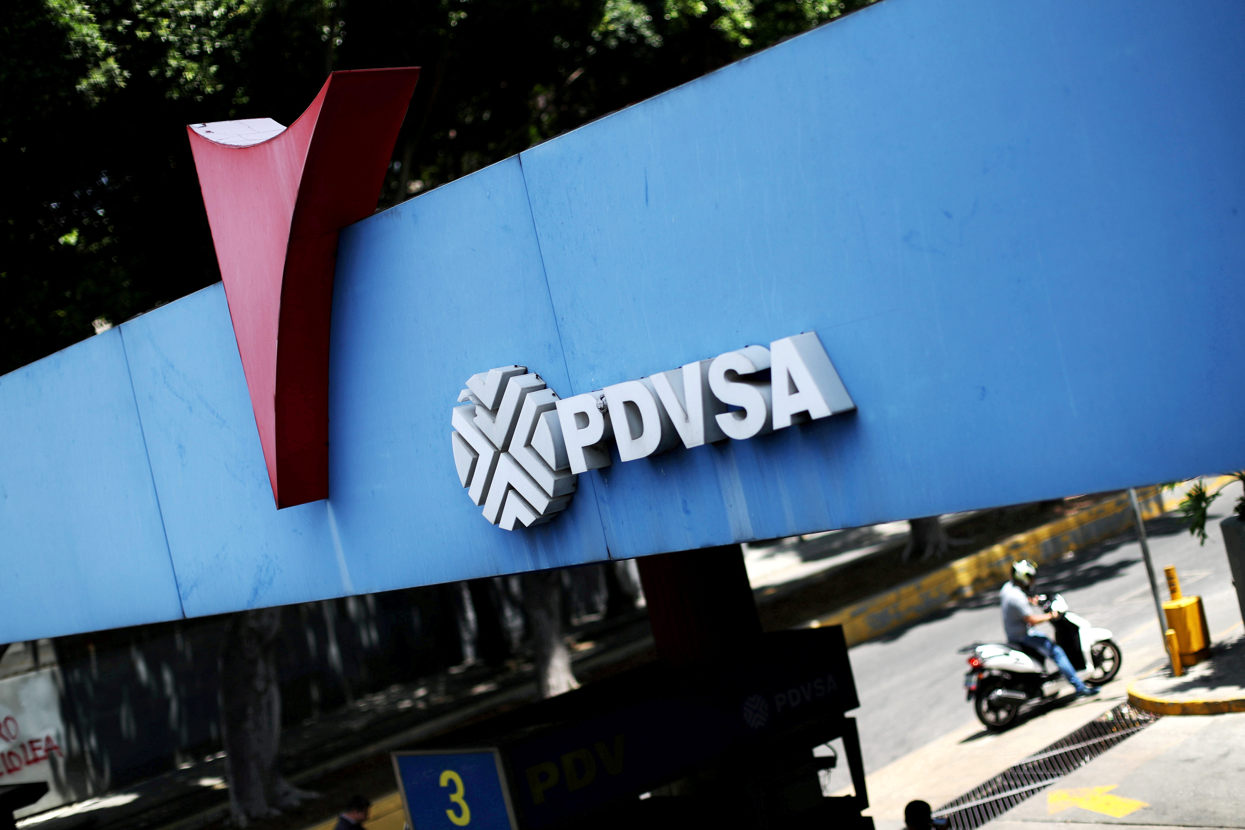 State oil company PDVSA's logo is seen at a gas station in Caracas, Venezuela May 17, 2019. REUTERS/Ivan Alvarado