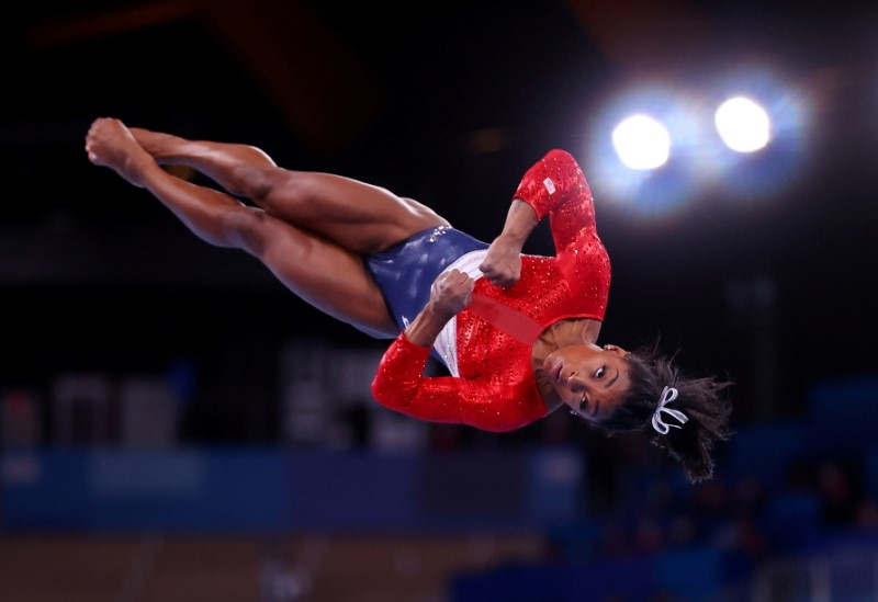 Tokyo 2020 Olympics - Gymnastics - Artistic - Women's Team - Final - Ariake Gymnastics Centre, Tokyo, Japan - July 27, 2021.  Simone Biles of the United States in action on the vault. REUTERS/Lindsey Wasson/File photo