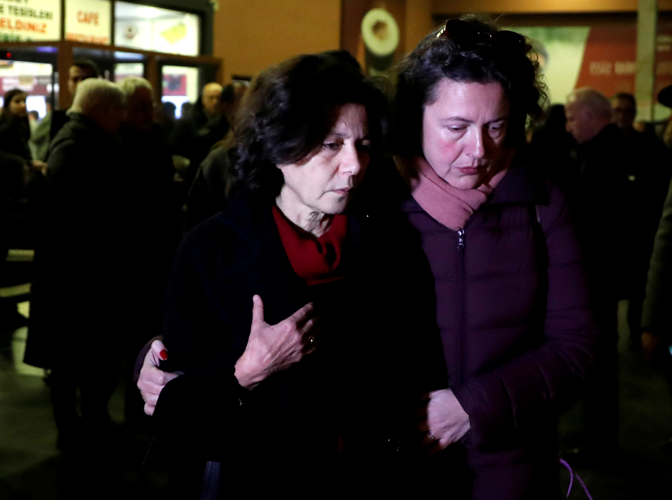 FILE PHOTO: Ayse Bugra, wife of Osman Kavala, Turkish businessman and philanthropist, leaves a restaurant after learning that Istanbul prosecutor's office demanded the re-arrest of her husband, in Silivri, near Istanbul, Turkey, February 18, 2020. REUTERS/Murad Sezer