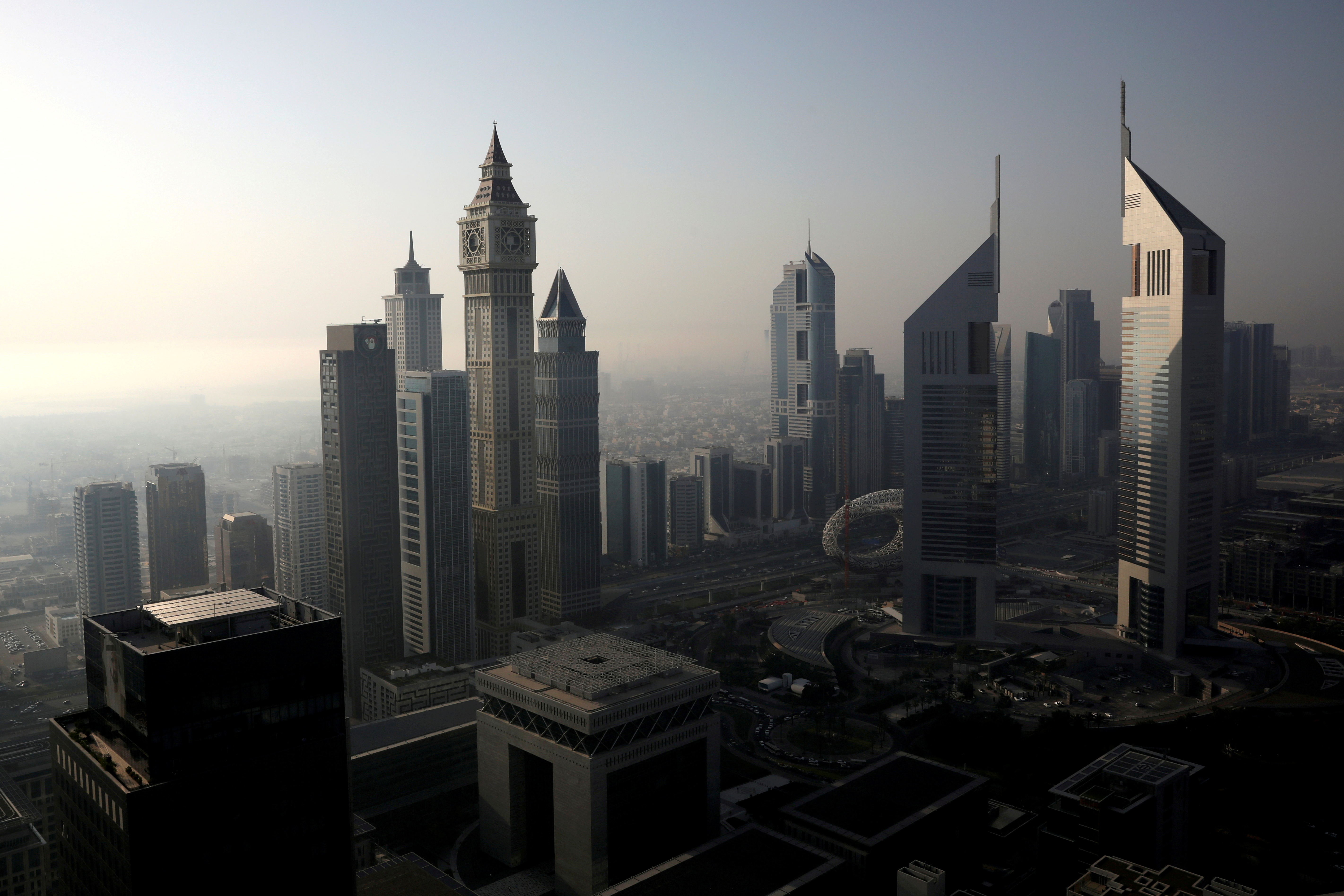 A general view of Dubai International Financial Centre (DIFC) among high-rise towers in Dubai, United Arab Emirates June 18, 2019. REUTERS/Christopher Pike