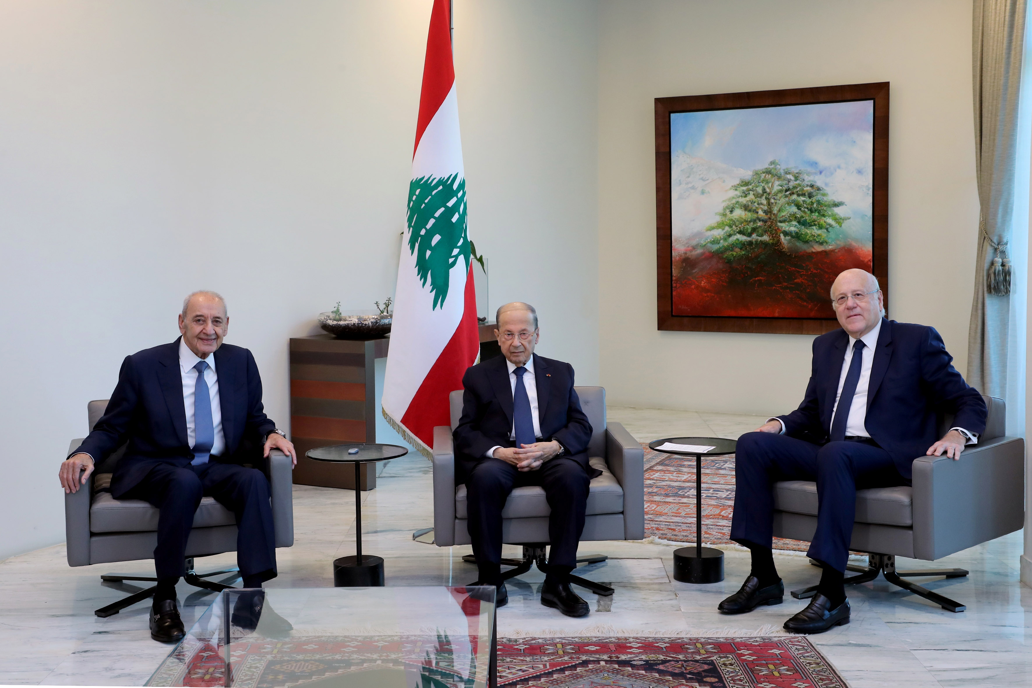 Lebanon's President Michel Aoun meets with Lebanese Prime Minister Najib Mikati and Lebanese Speaker of the Parliament Nabih Berri at the presidential palace in Baabda, Lebanon September 13, 2021. Dalati Nohra/Handout via REUTERS