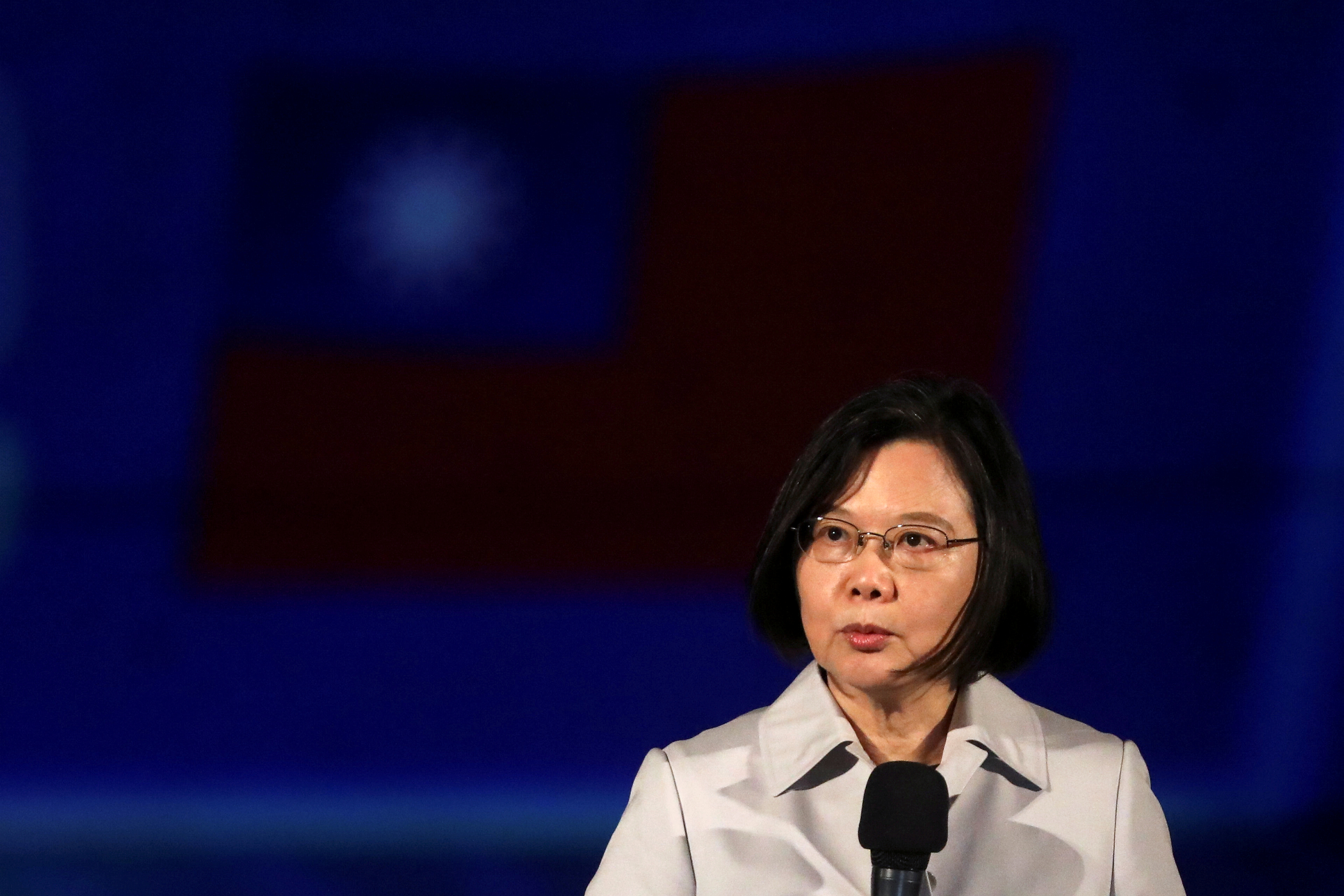 Taiwan President Tsai Ing-wen makes a speech ahead of the light show at the Presidential Office building for the National Day celebration in Taipei, Taiwan, October 6, 2020. REUTER/Ann Wang