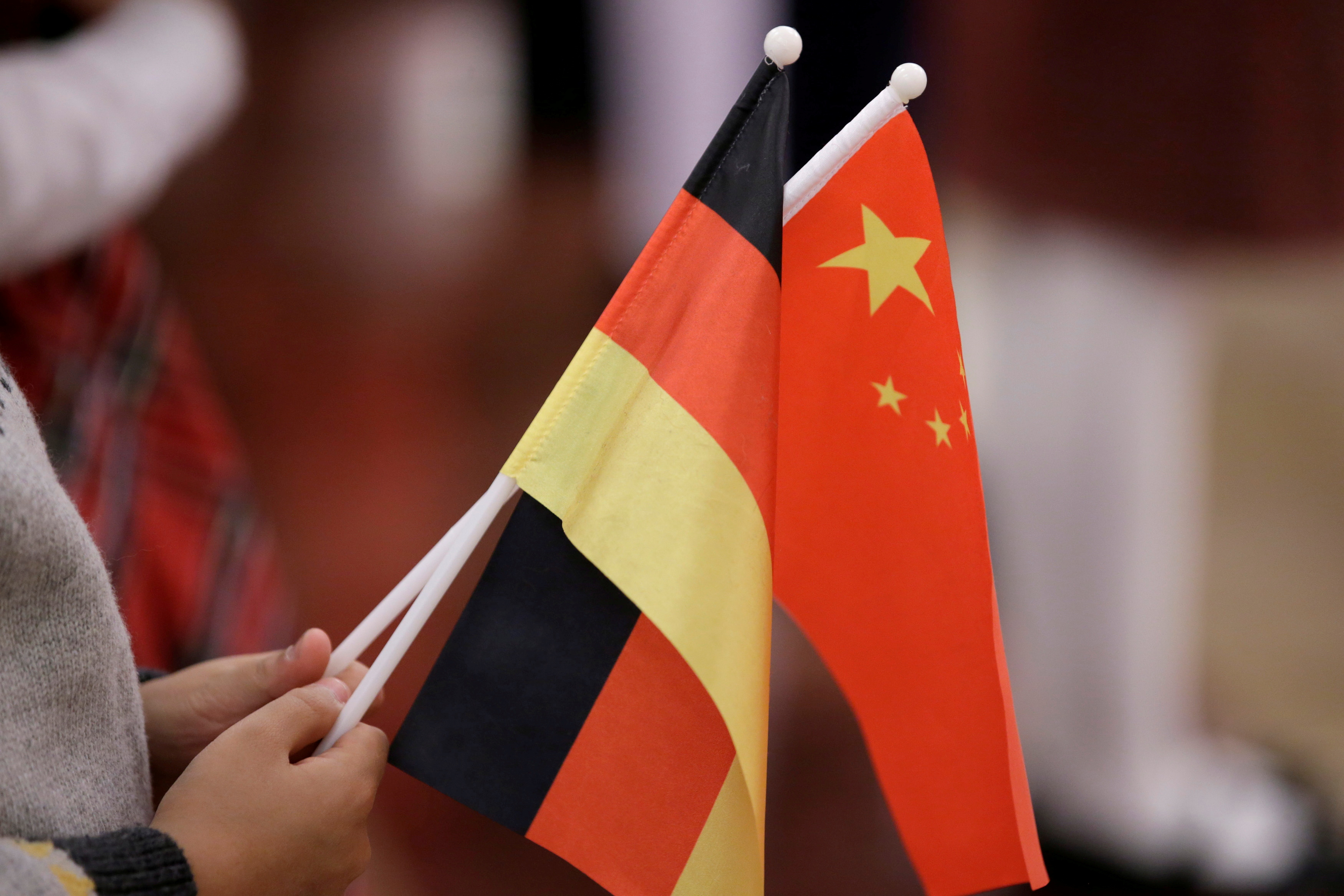 A student holds flags of China and Germany before a welcome ceremony hosted by China's President Xi Jinping for German President Frank-Walter Steinmeier at the Great Hall of the People in Beijing, China December 10, 2018. REUTERS/Jason Lee/File Photo