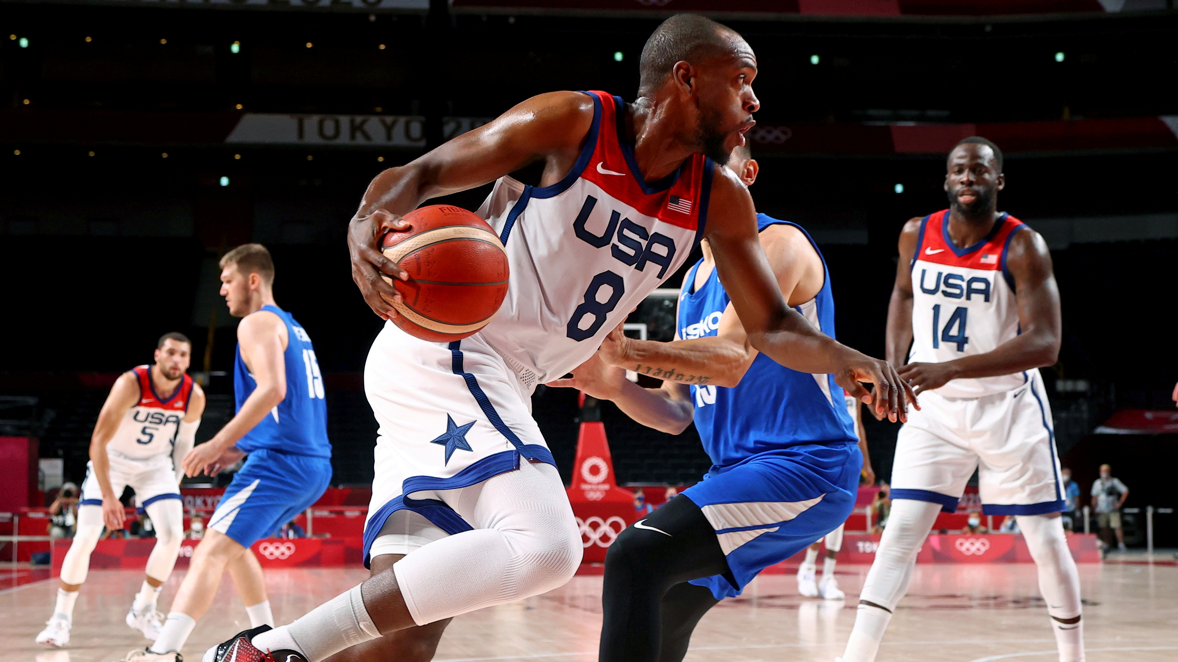 Tokyo 2020 Olympics - Basketball - Men - Group A - United States v Czech Republic - Saitama Super Arena, Saitama, Japan - July 31, 2021. Khris Middleton of the United States in action REUTERS/Brian Snyder