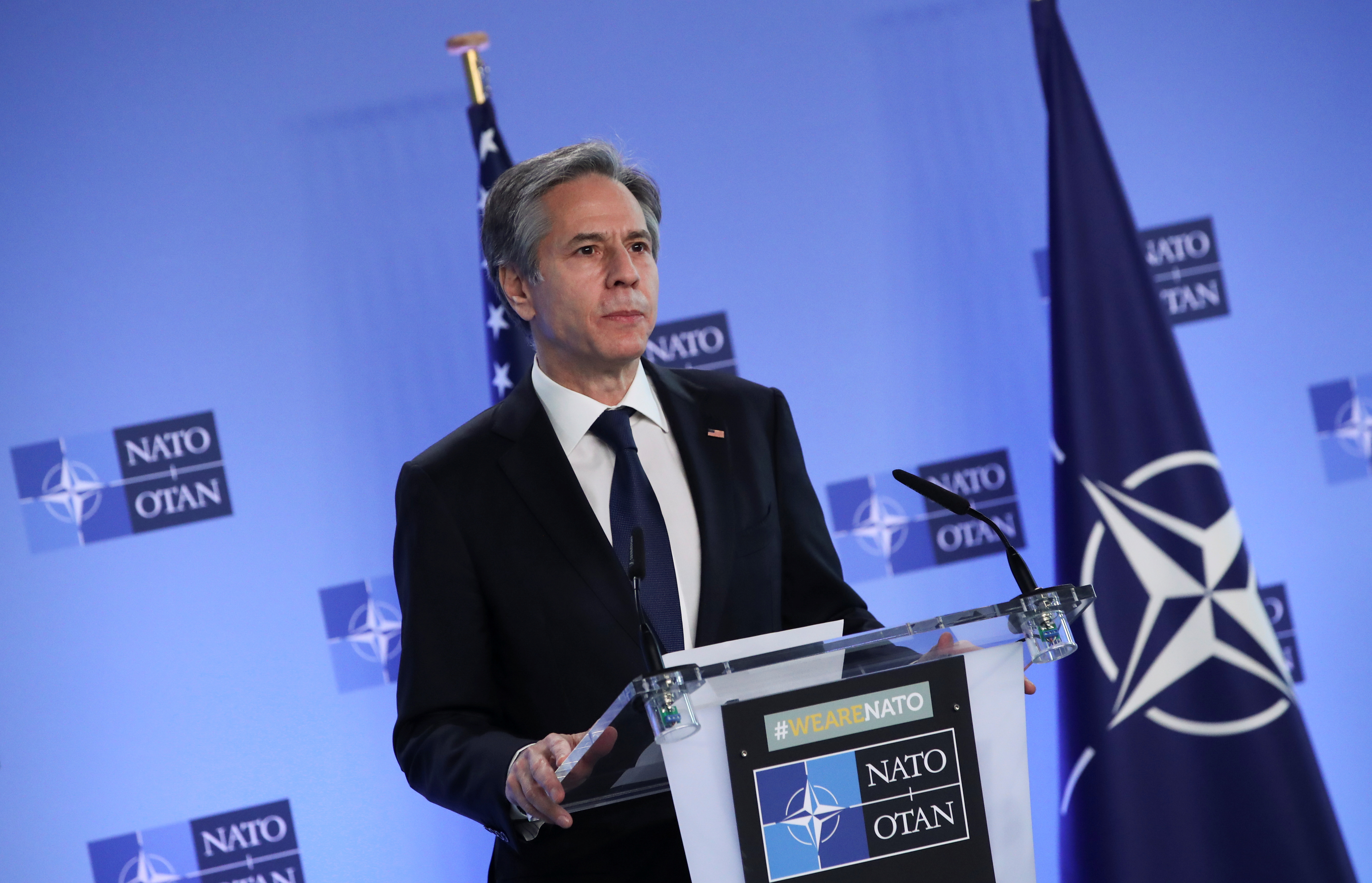 U.S. Secretary of State Antony Blinken delivers remarks during a NATO Foreign Ministers' meeting at the Alliance's headquarters in Brussels, Belgium March 23, 2021. REUTERS/Yves Herman/Pool