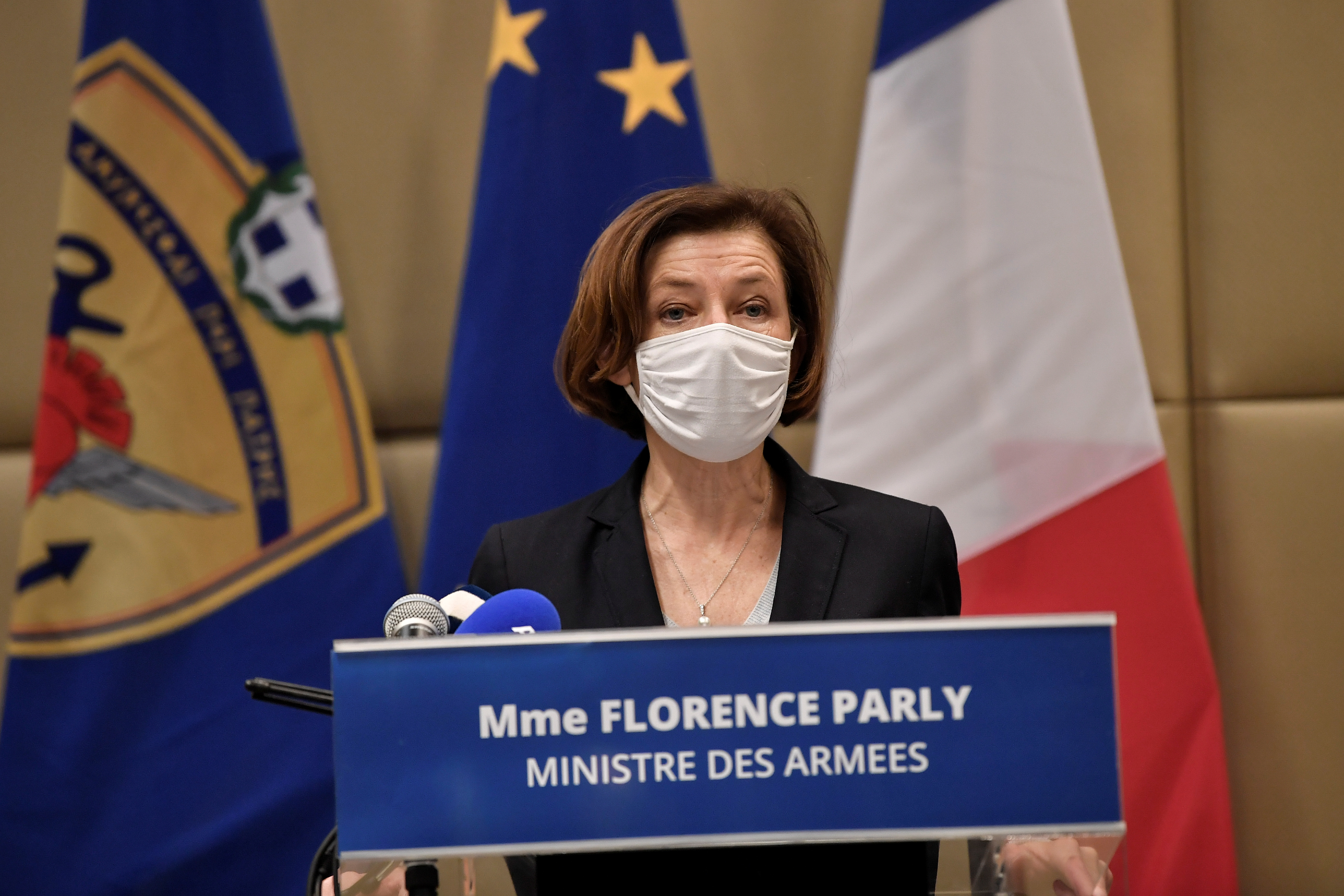 French Defence Minister Florence Parly makes statements to the press after the signing of an agreement for the purchase of 18 Dassault-made Rafale fighter jets at the Greek Defence Ministry in Athens, Greece, January 25, 2021. Louiza Gouliamaki/Pool via REUTERS.