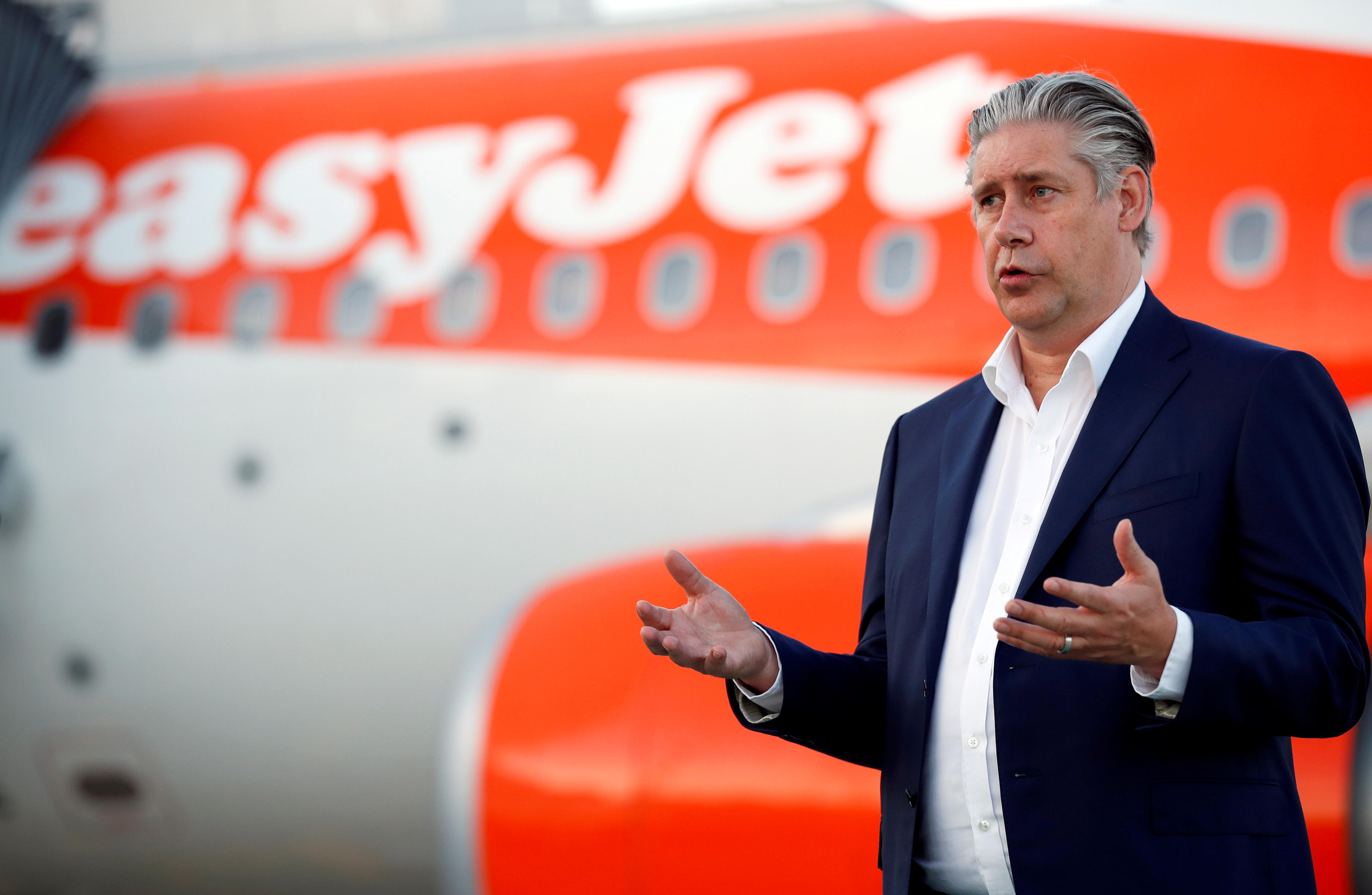 EasyJet CEO Johan Lundgren gestures as he talks to media at Gatwick Airport, Britain, June 15, 2020. REUTERS/Peter Cziborra