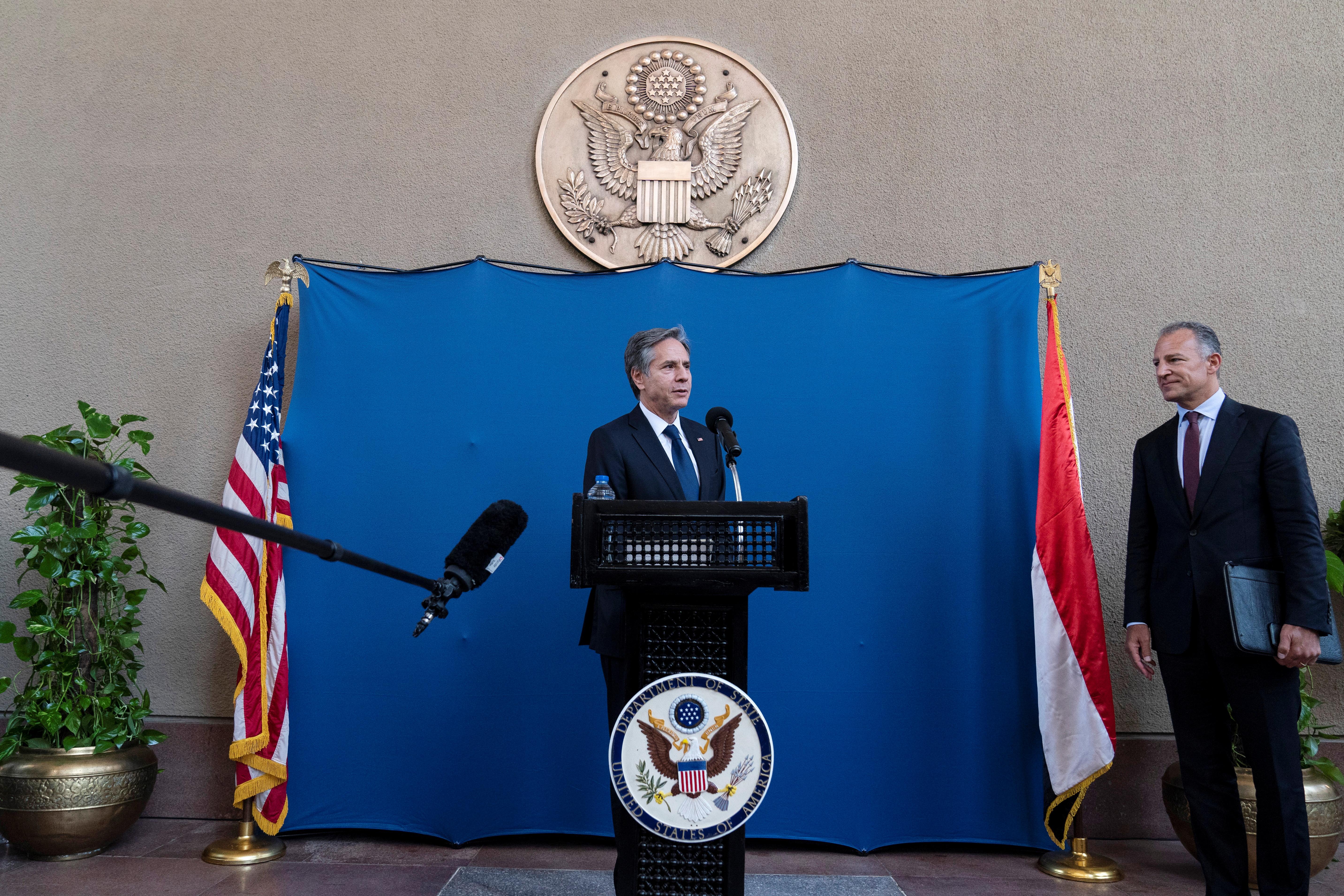 U.S. Secretary of State Antony Blinken speaks as he greets staff members of the U.S. Embassy to Egypt, in Cairo, Egypt May 26, 2021. Alex Brandon/Pool via REUTERS