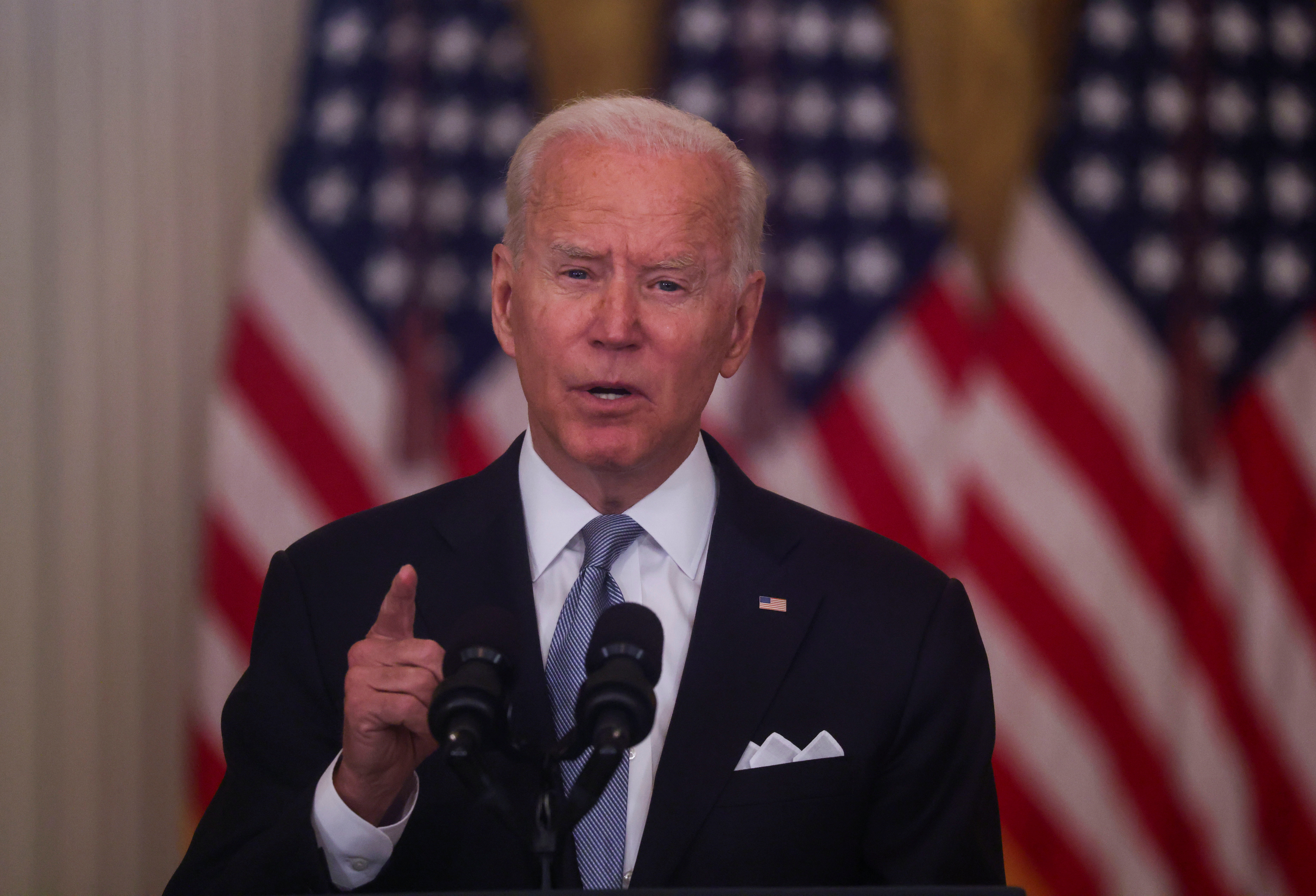 U.S. President Joe Biden delivers remarks on the crisis in Afghanistan during a speech in the East Room at the White House in Washington, U.S., August 16, 2021. REUTERS/Leah Millis