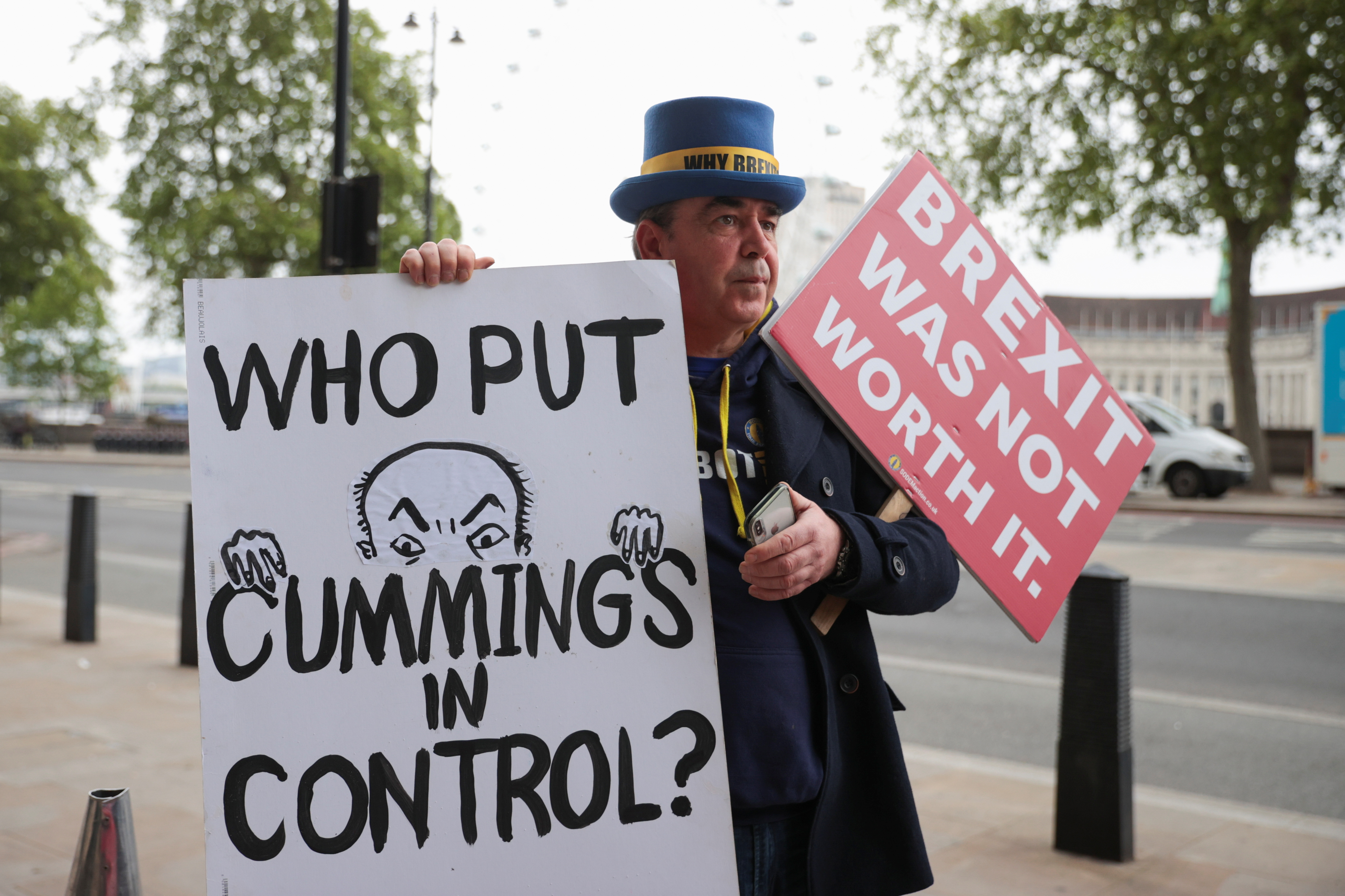 Anti-Brexit protester Steve Bray demonstrates oustide Portcullis House, in Westminster, central London, Britain, May 26, 2021. REUTERS/Hannah McKay