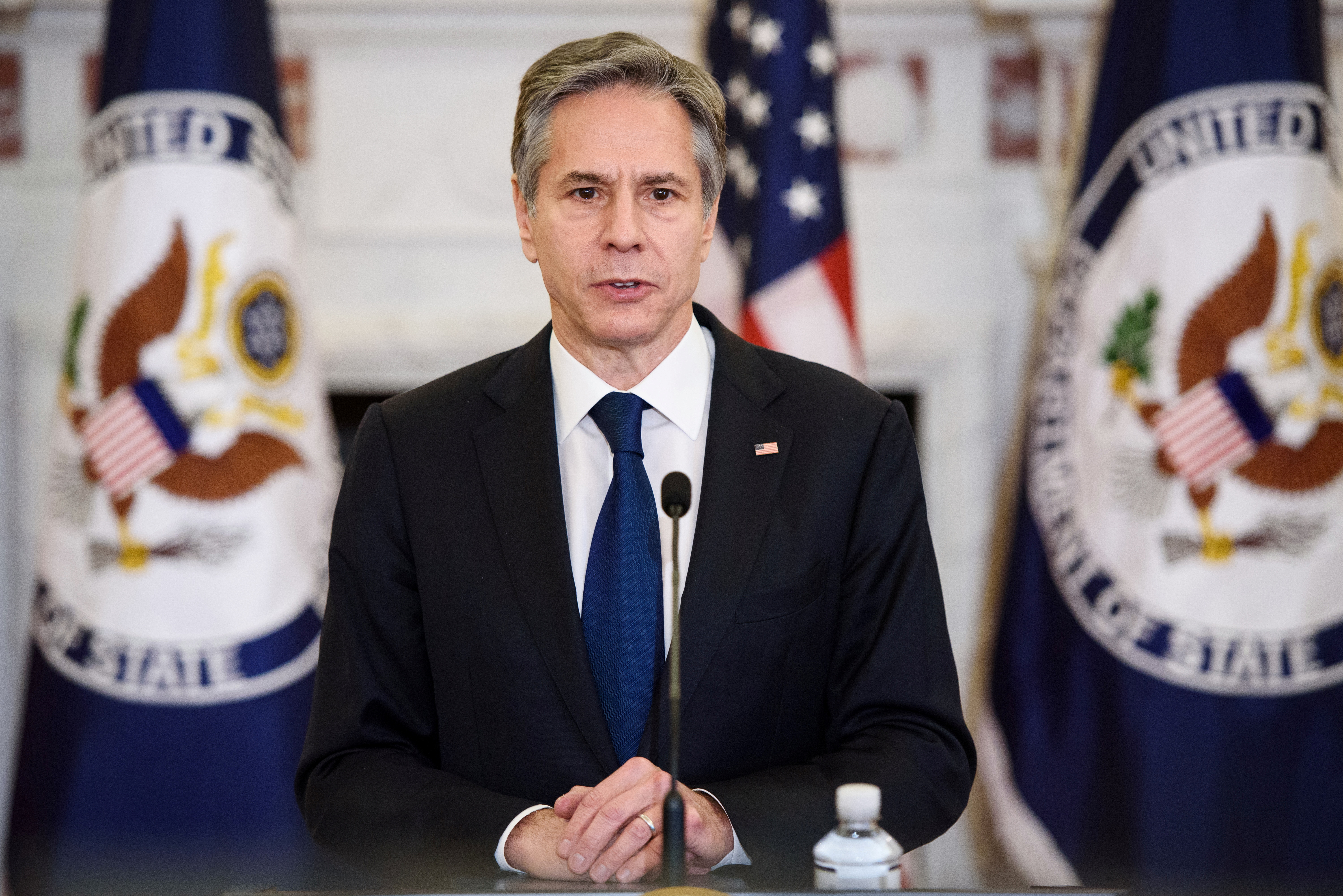 U.S. Secretary of State Antony Blinken speaks during the announcement of former ambassador Gina Abercrombie-Winstanley as the first chief diversity officer in the Benjamin Franklin Room of the State Department in Washington, DC, U.S. April 12, 2021. Mandel Ngan/Pool via REUTERS