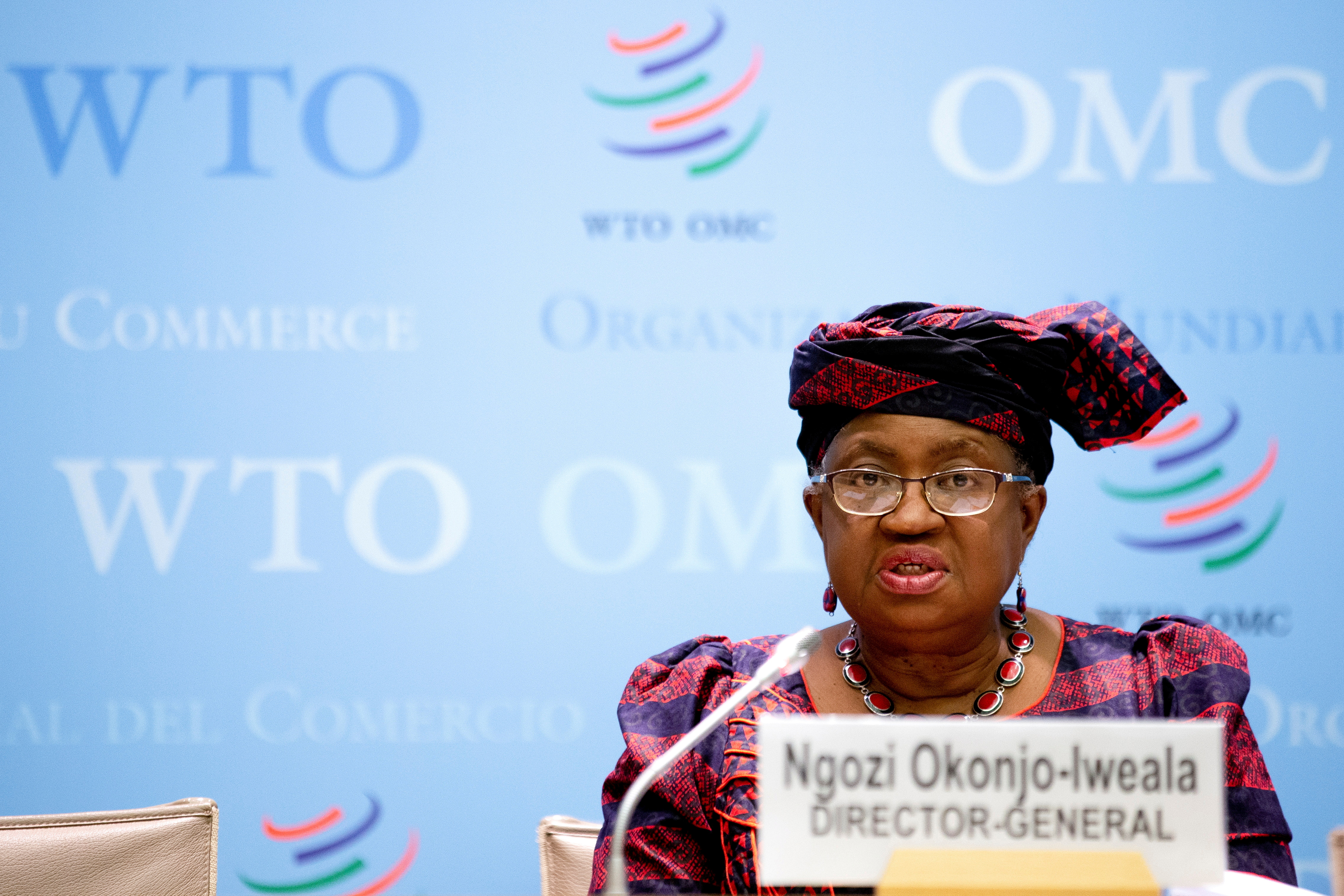 Director-General of the World Trade Organisation Ngozi Okonjo-Iweala speaks during a press conference remotely on the annual global WTO trade forecast at the headquarters of the World Trade Organization (WTO) in Geneva, Switzerland March 31, 2021. Salvatore Di Nolfi/Pool via Reuters/File Photo