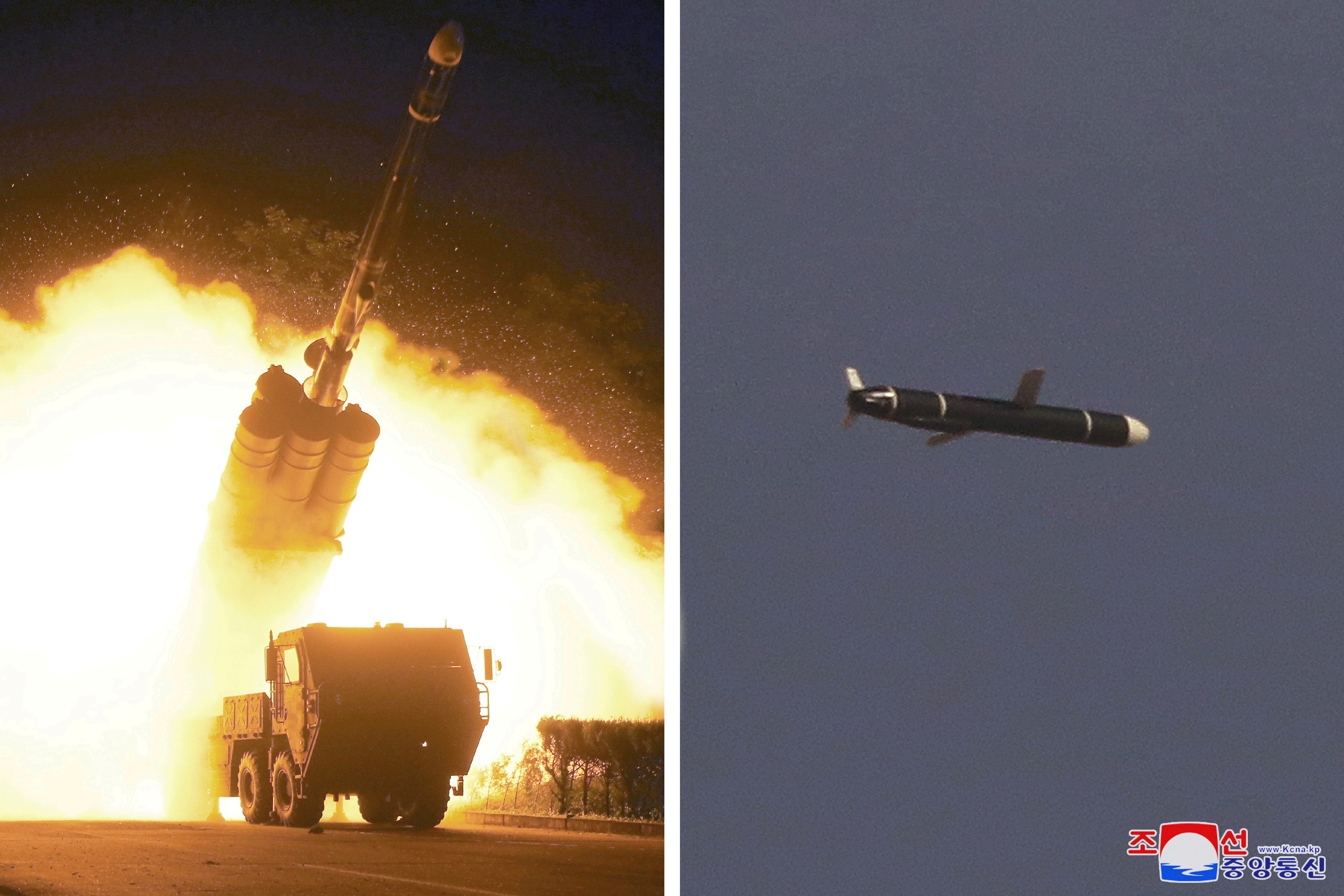 The Academy of National Defense Science conducts long-range cruise missile tests in North Korea, as pictured in this combination of undated photos supplied by North Korea's Korean Central News Agency (KCNA) on September 13, 2021.   KCNA via REUTERS