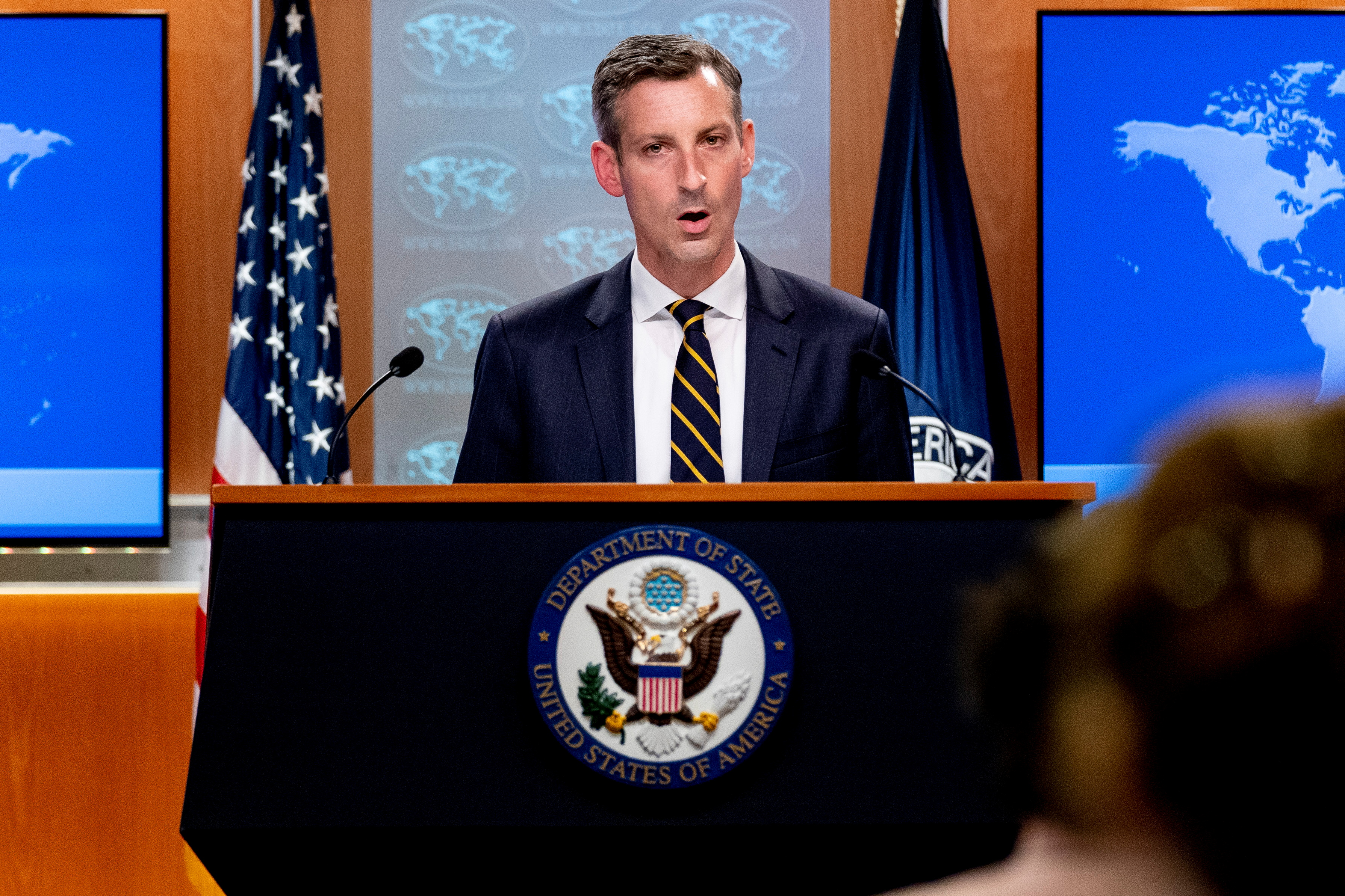 State Department spokesman Ned Price speaks on the situation in Afghanistan at the State Department in Washington, DC, U.S. August 18, 2021. Andrew Harnik/Pool via REUTERS