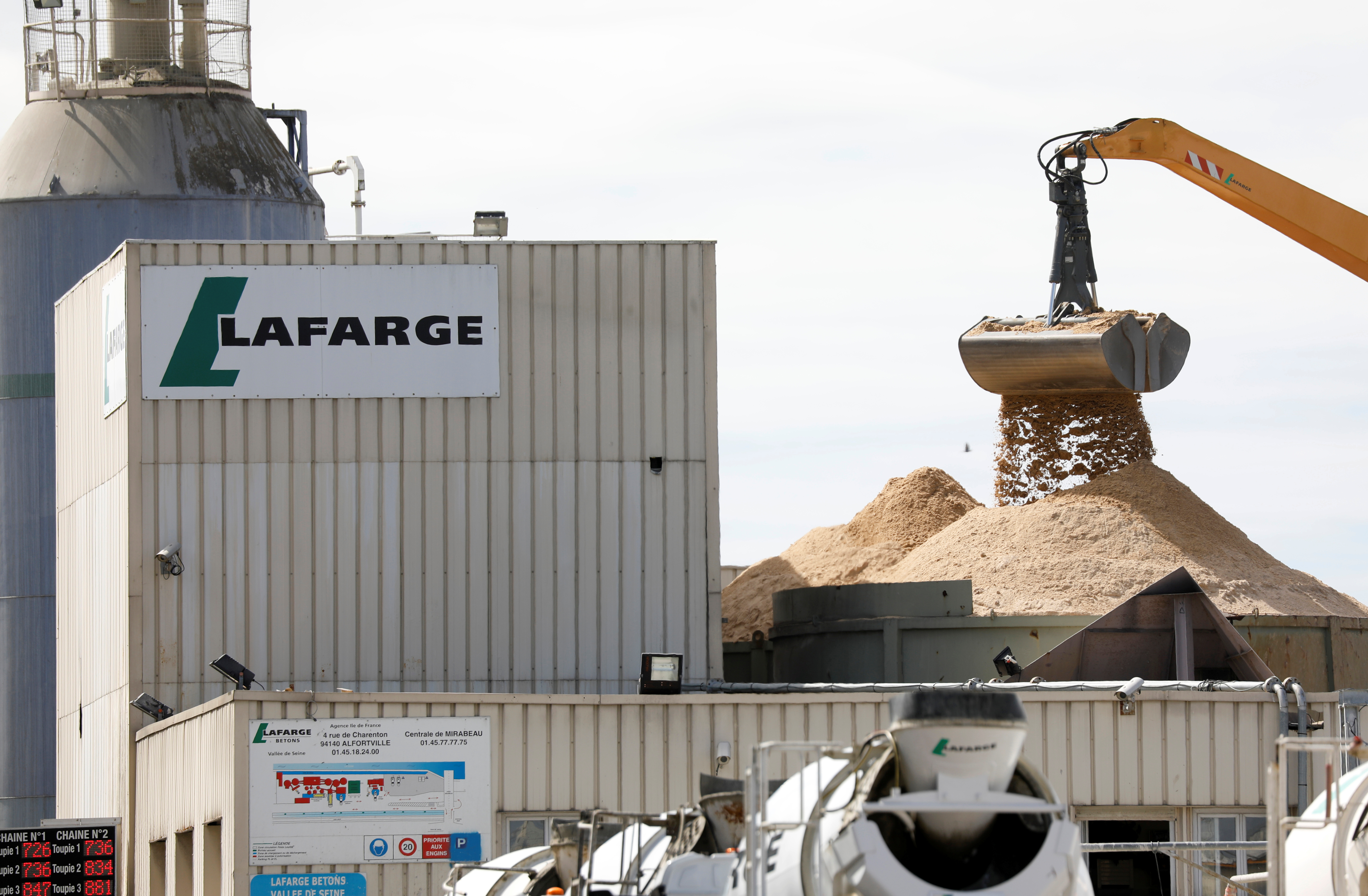 A logo is seen at a Lafarge concrete production plant of Javel on the banks of the river Seine in Paris, France, September 3, 2020. REUTERS/Charles Platiau/Files