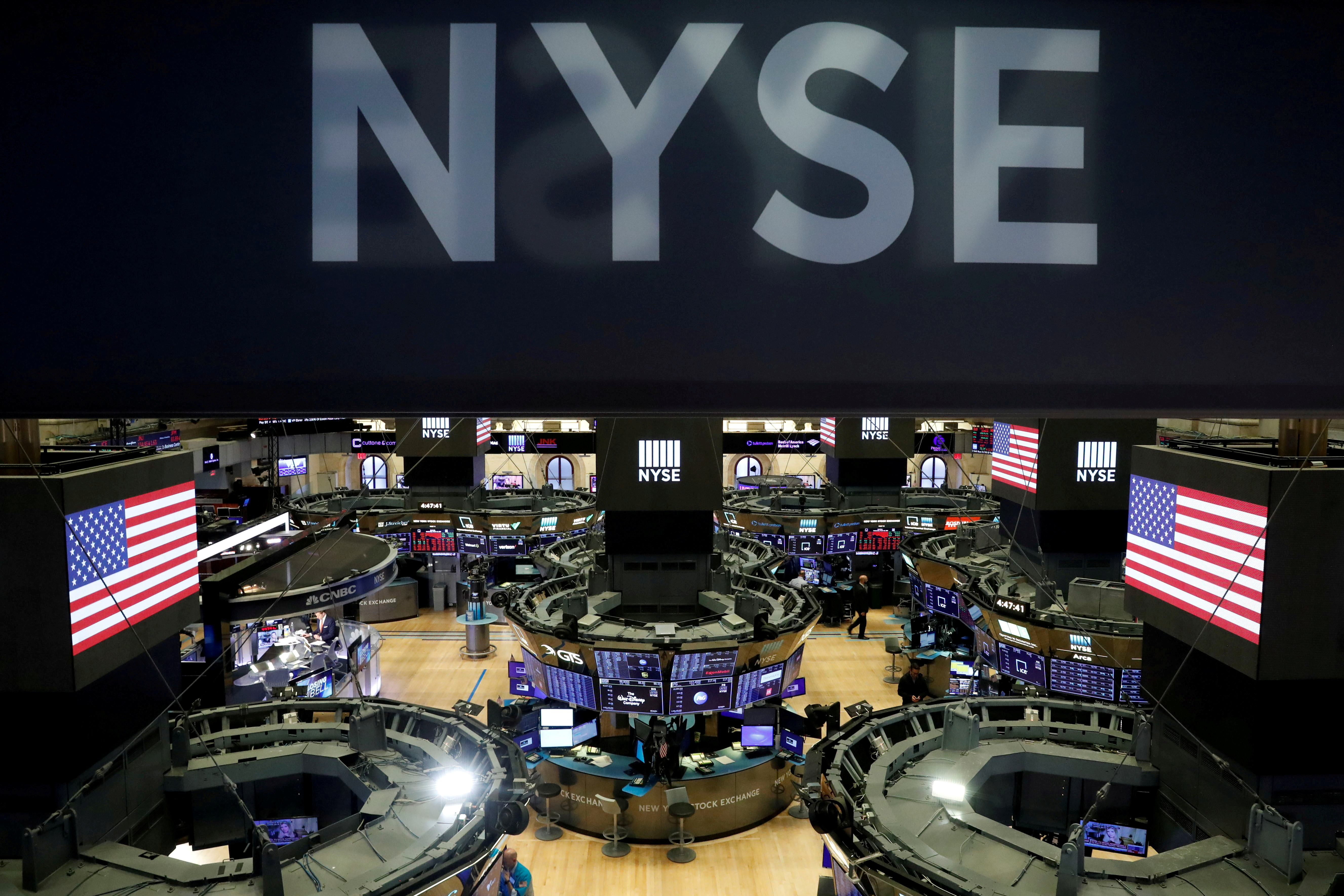 File photo: The floor of the theNewYorkStockExchange(NYSE) is seen after the close of trading inNewYork. REUTERS/Lucas Jackson