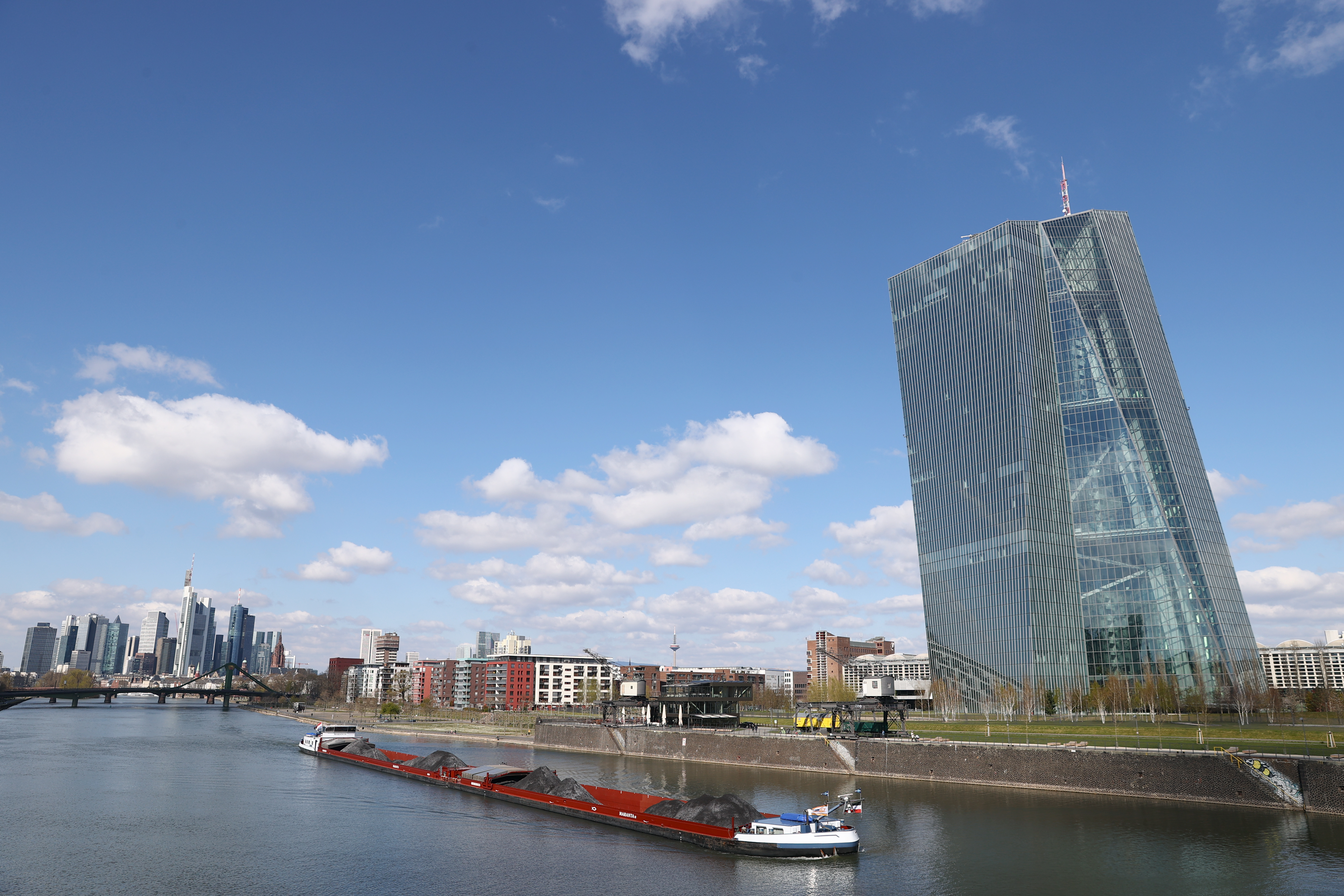 The skyline with its banking district and the European Central Bank (ECB) are seen, as the spread of the coronavirus disease (COVID-19) continues, in Frankfurt, Germany, March 31, 2020. REUTERS/Kai Pfaffenbach