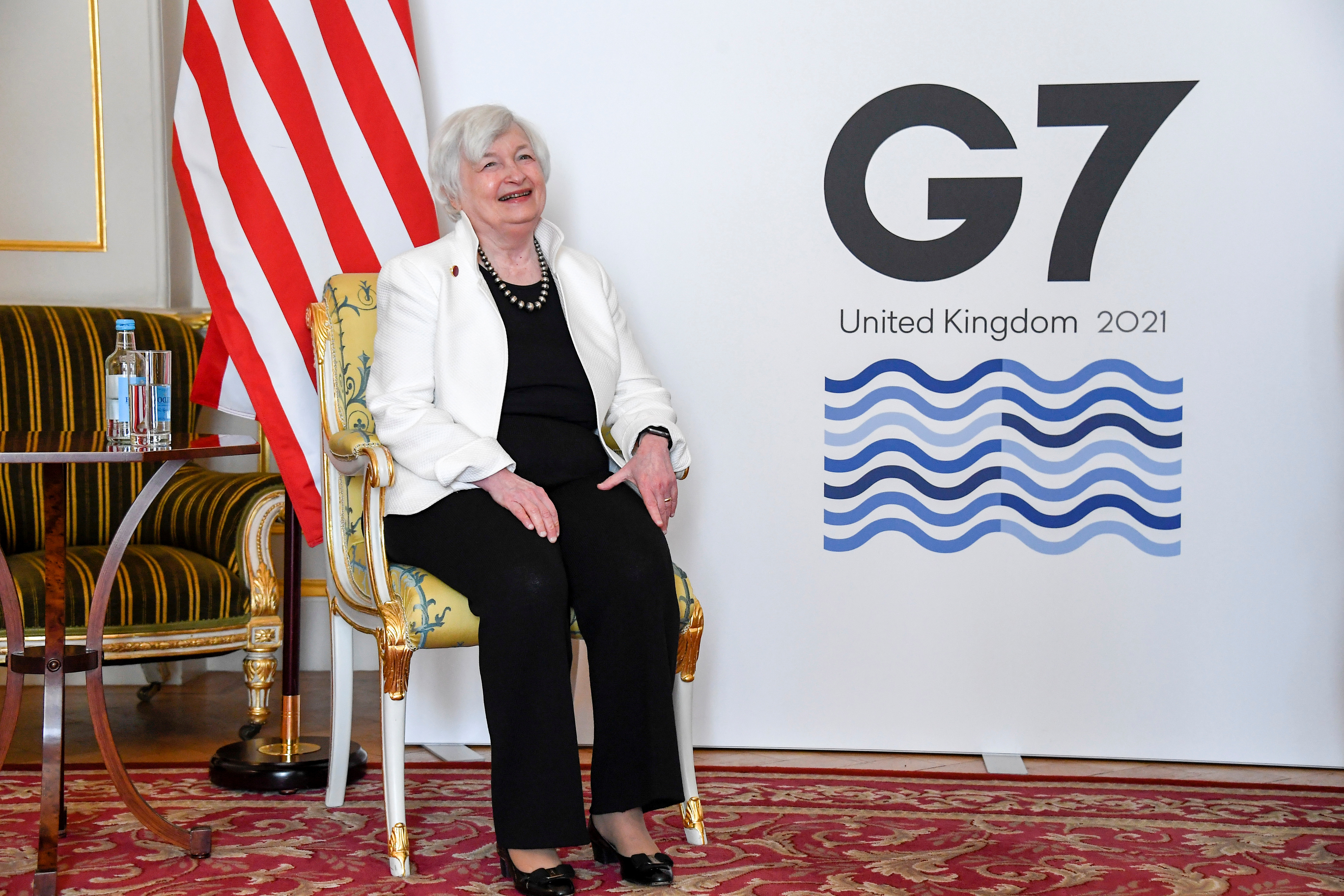 U.S. Treasury Secretary Janet Yellen poses as finance ministers from across the G7 nations meet at Lancaster House in London, Britain June 5, 2021 ahead of the G7 leaders' summit. Alberto Pezzali/Pool via REUTERS
