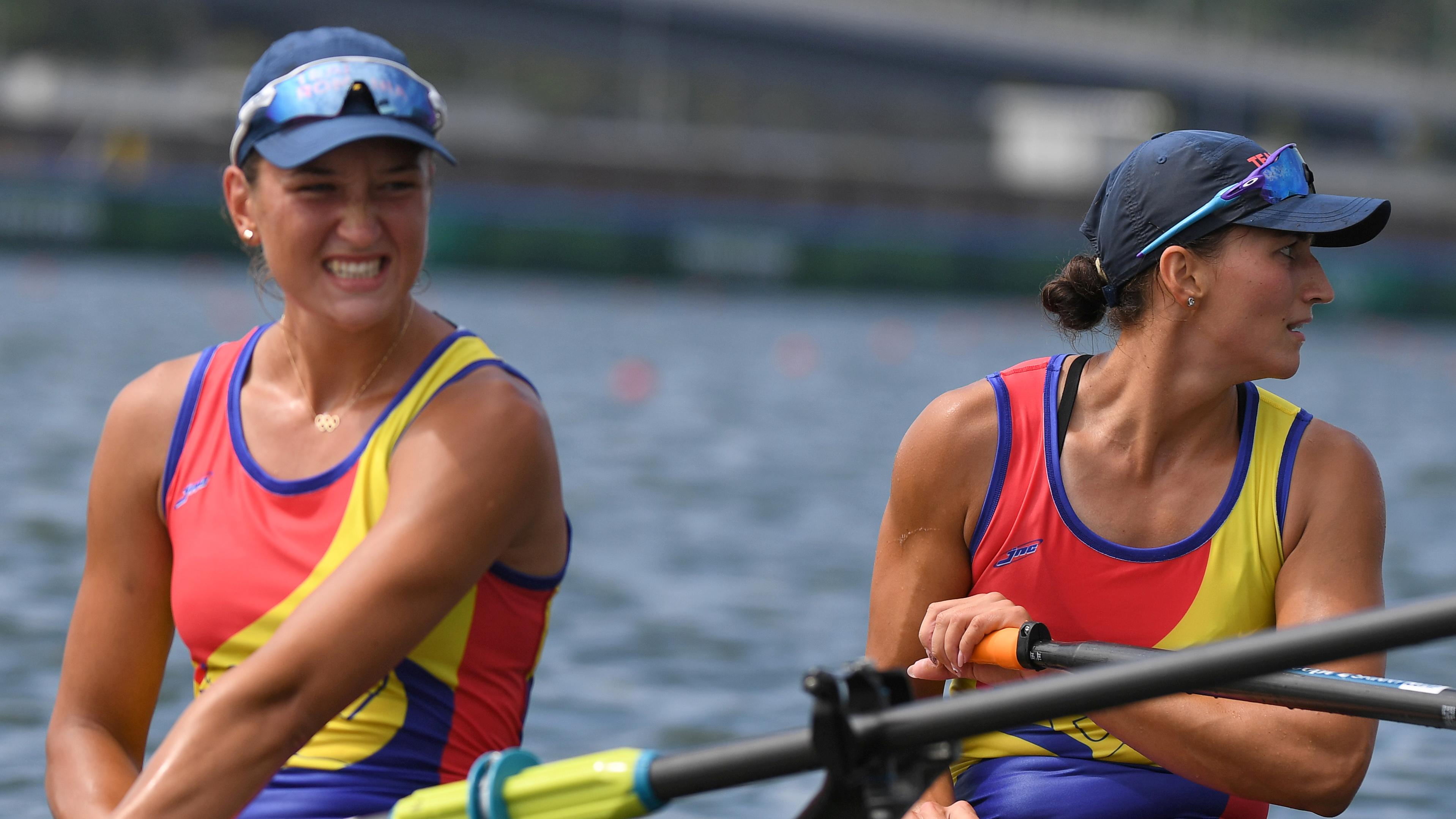 Tokyo 2020 Olympics - Rowing - Women's Double Sculls - Final A - Sea Forest Waterway, Tokyo, Japan - July 28, 2021. Ancuta Bodnar of Romania and Simona-Geanina Radis of Romania react after winning gold REUTERS/Piroschka Van De Wouw