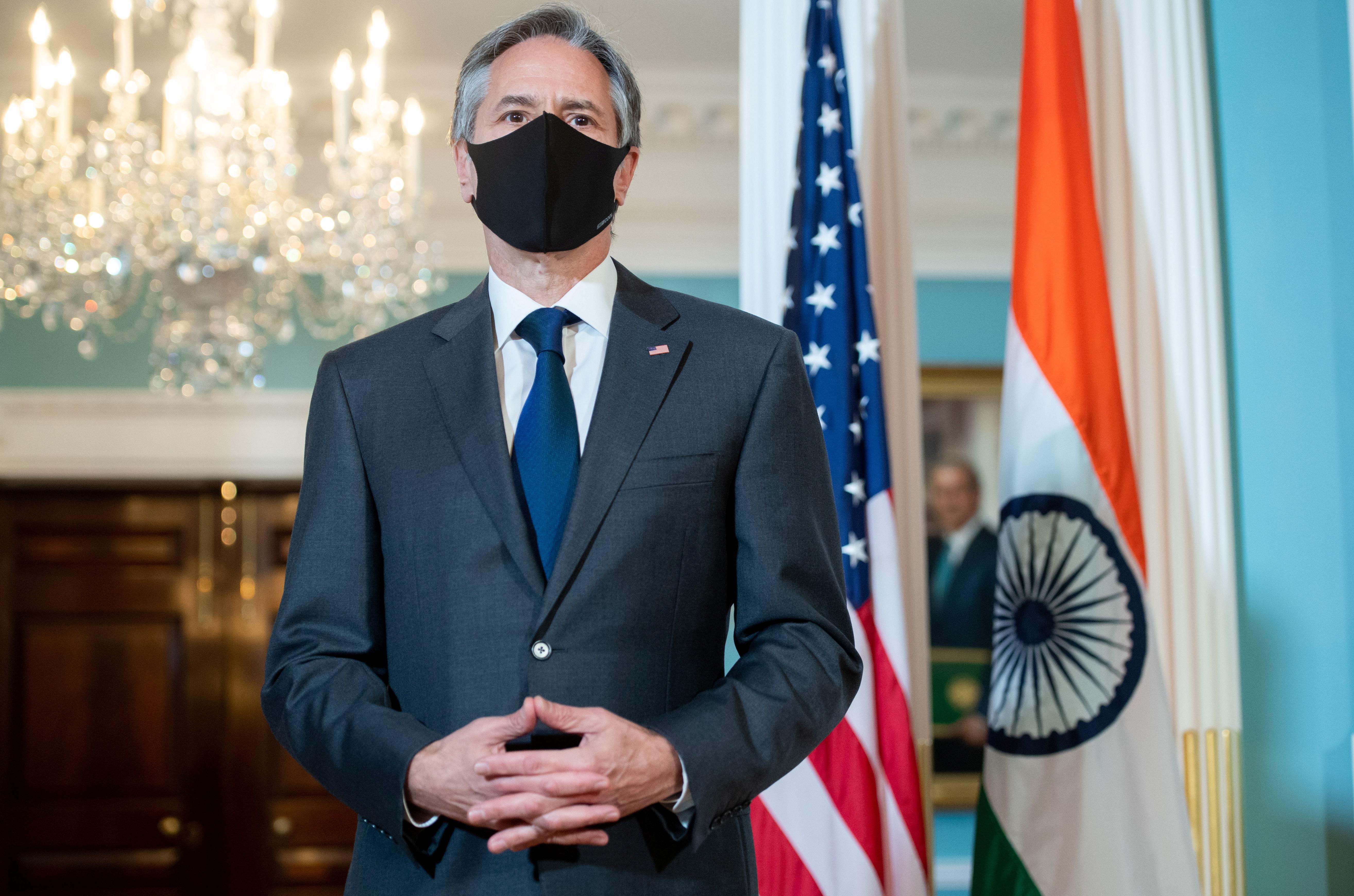 U.S. Secretary of State Antony Blinken speaks to the media prior a meeting with Indian External Affairs Minister Subrahmanyam Jaishankar  at the State Department in Washington, DC, U.S. May 28, 2021. Saul Loeb/Pool via REUTERS