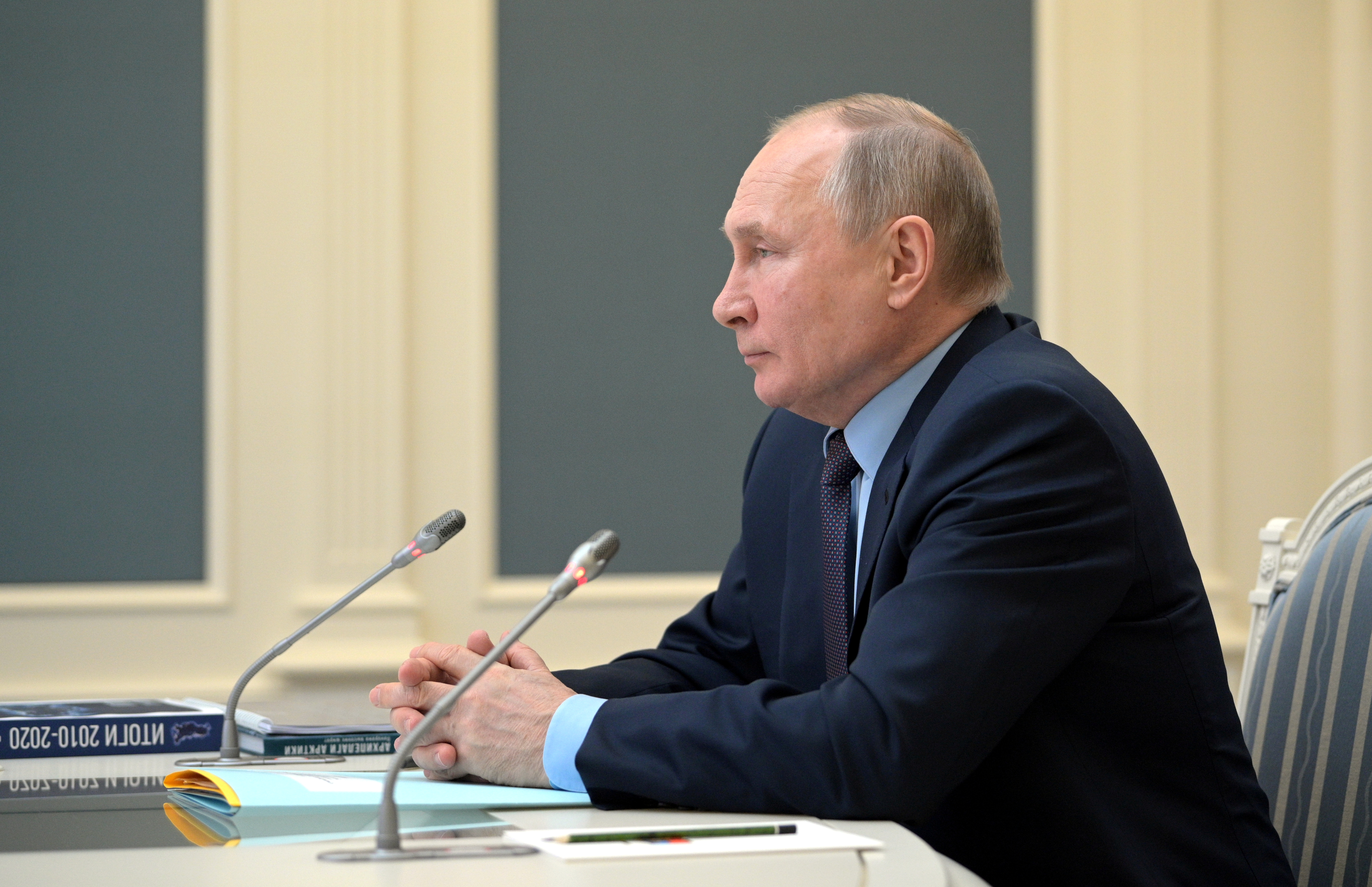 Russian President Vladimir Putin attends a session of the board of trustees of the Russian Geographical Society via a video conference call in Moscow, Russia April 14, 2021. Sputnik/Alexei Druzhinin/Kremlin via REUTERS