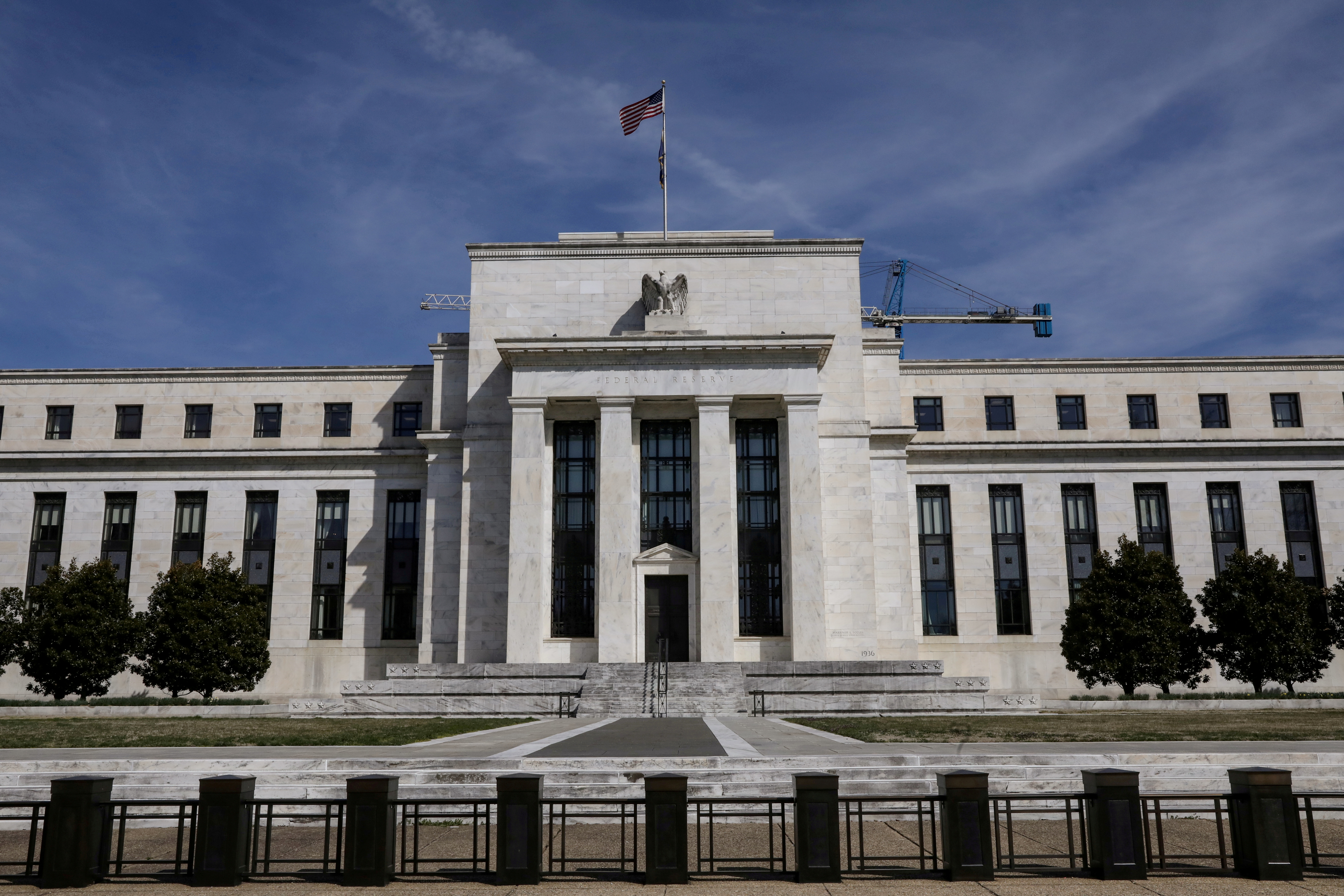 The Federal Reserve Board building on Constitution Avenue is pictured in Washington, U.S., March 27, 2019. REUTERS/Brendan McDermid/File Photo