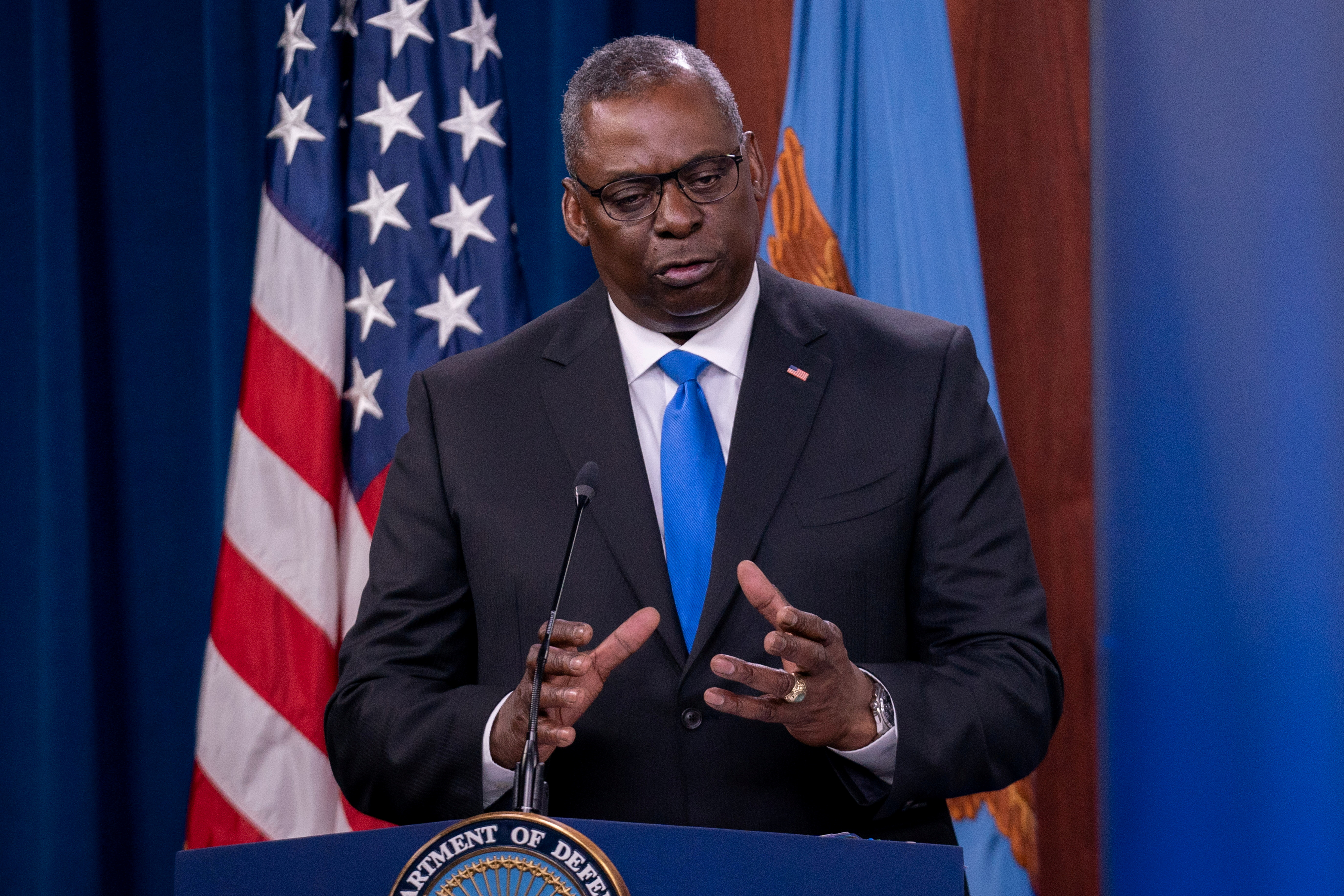 U.S. Defense Secretary Lloyd Austin answers reporters questions at the Pentagon as the U.S. military nears the formal end of its mission in Afghanistan in Arlington, Virginia, U.S. July 21, 2021. REUTERS/Ken Cedeno