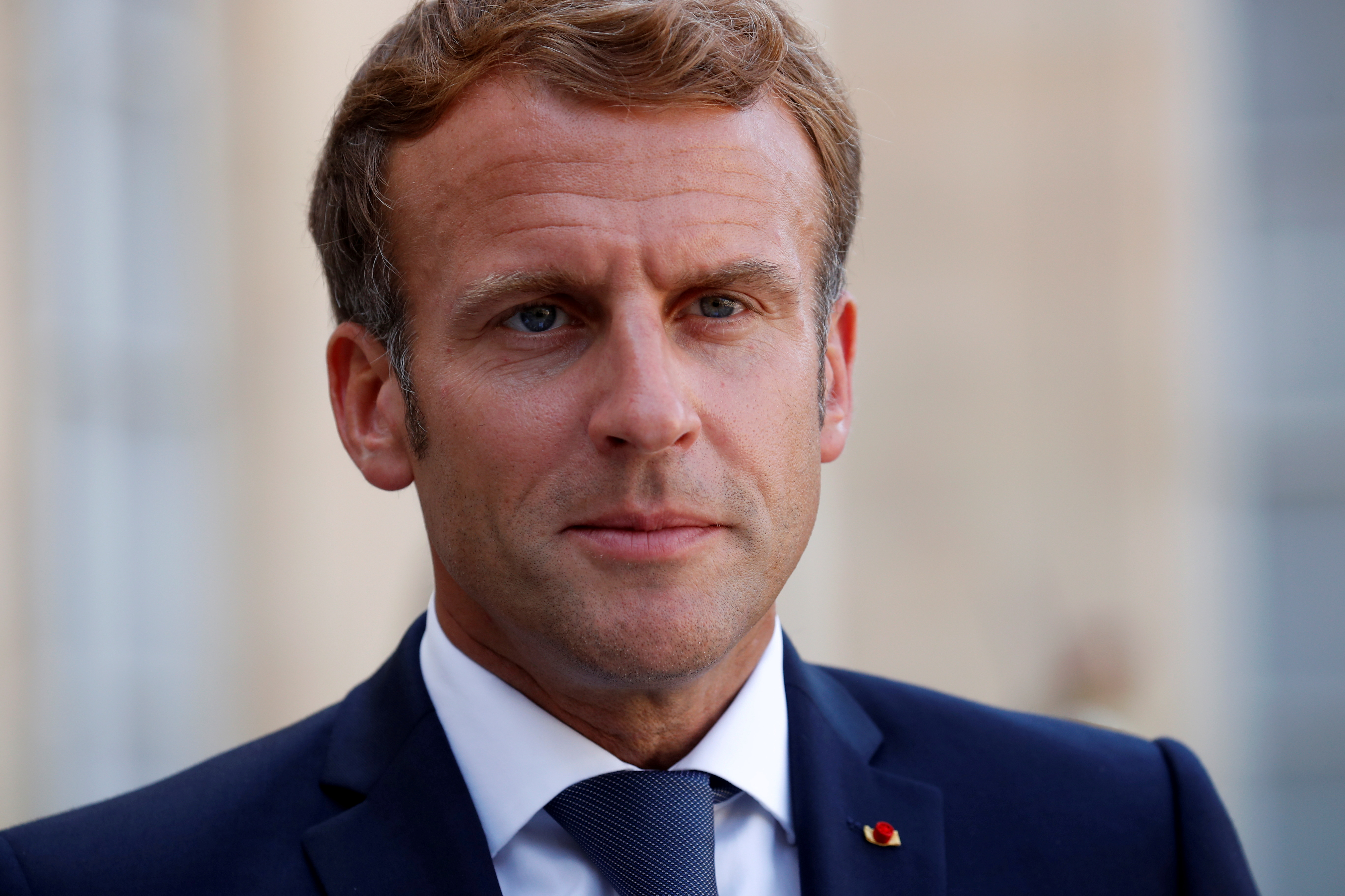 French President Emmanuel Macron delivers a joint statement with Chile's President Sebastian Pinera (not seen) after a meeting at the Elysee Palace in Paris, France, September 6, 2021. REUTERS/Gonzalo Fuentes