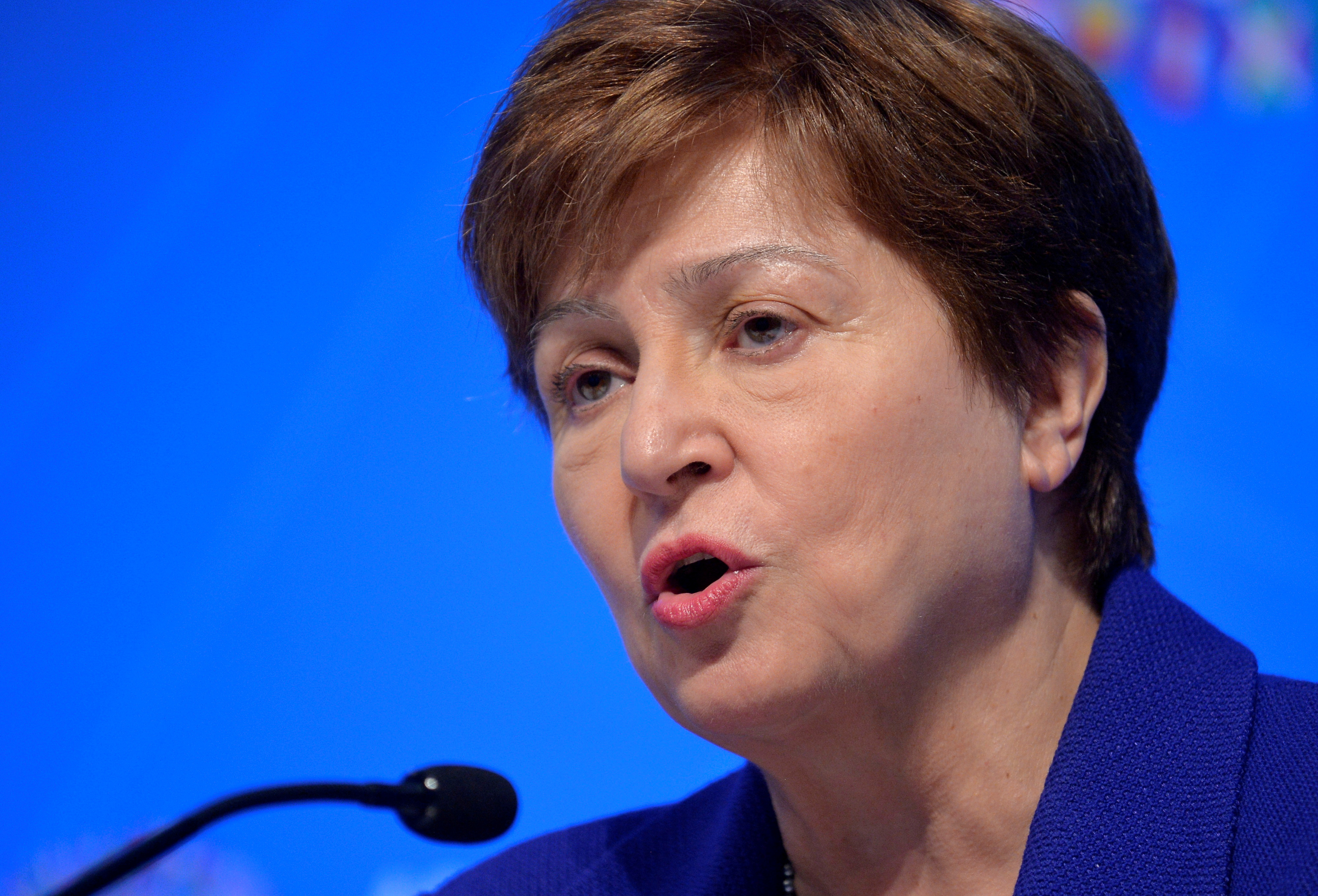 International Monetary Fund (IMF) Managing Director Kristalina Georgieva makes remarks during a closing news conference for the International Monetary Finance Committee, during the IMF and World Bank's 2019 Annual Meetings of finance ministers and bank governors, in Washington, U.S., October 19, 2019.   REUTERS/Mike Theiler