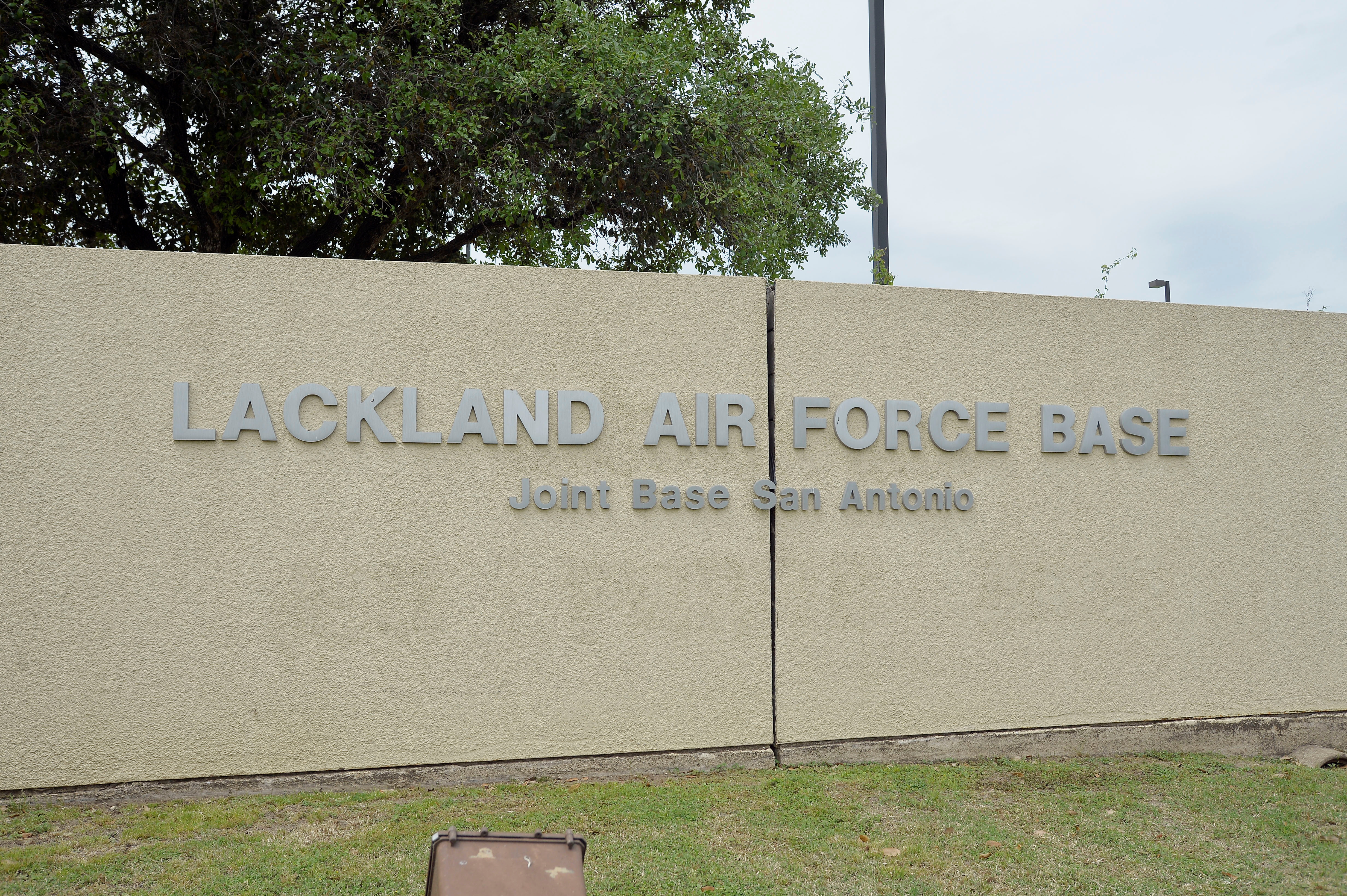 The Annex Gate entrance sign is seen at Lackland Air Force Base in San Antonio, Texas April 8, 2016.     REUTERS/Darren Abate/File Photo