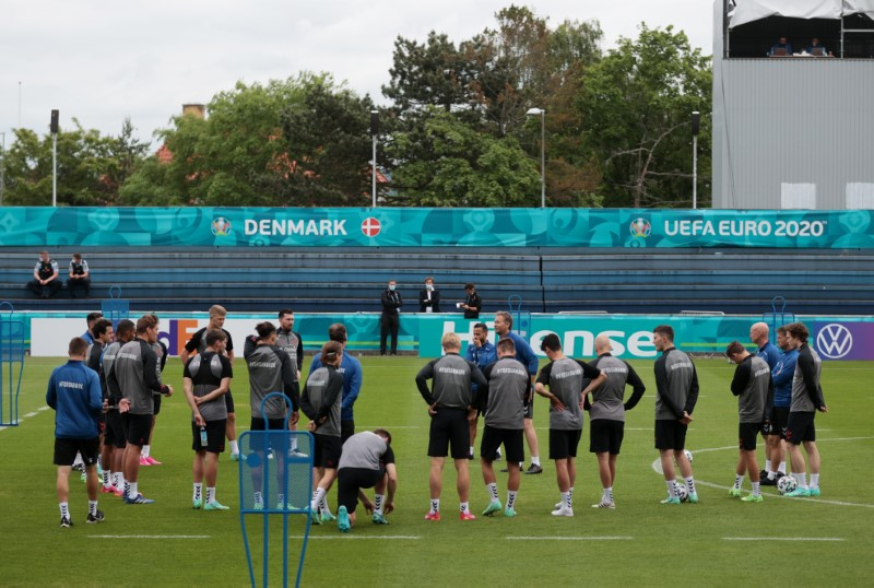 Soccer Football - Euro 2020 - Denmark Training - Elsinore, Denmark - June 14, 2021 General view of Denmark players and coaches during training REUTERS/Hannah Mckay