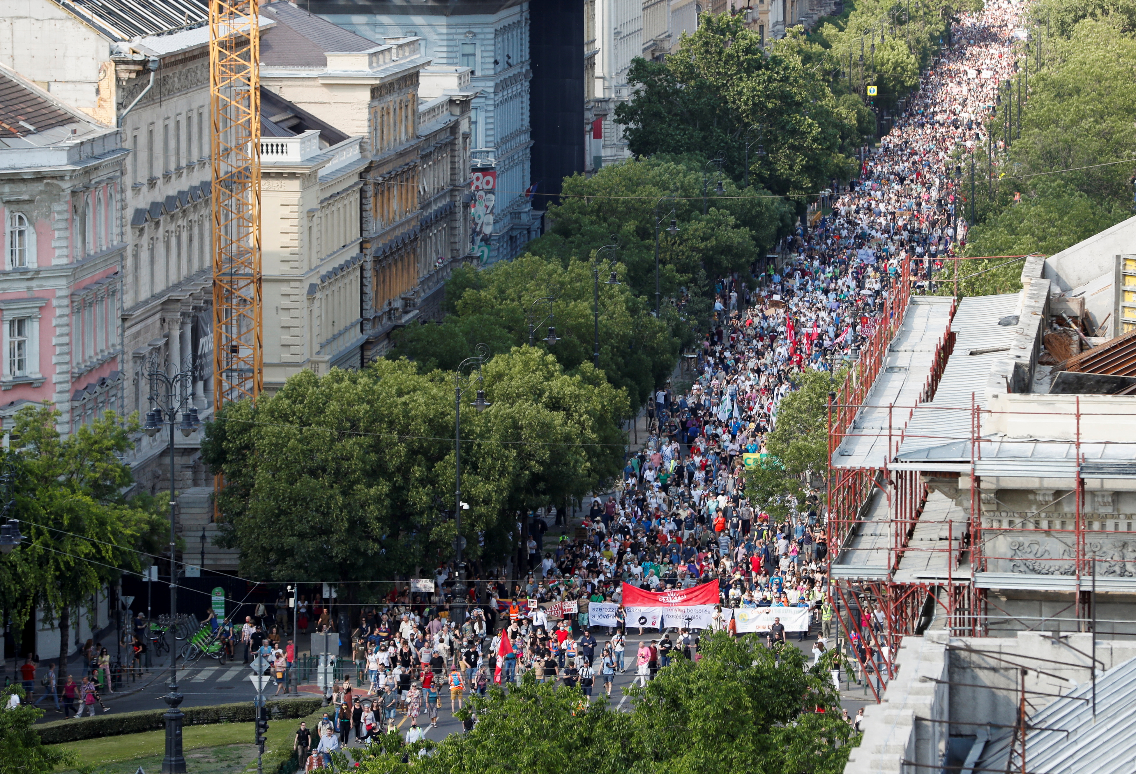 Demonstrators protest against the planned Chinese Fudan University campus in Budapest, Hungary, June 5, 2021. REUTERS/Bernadett Szabo
