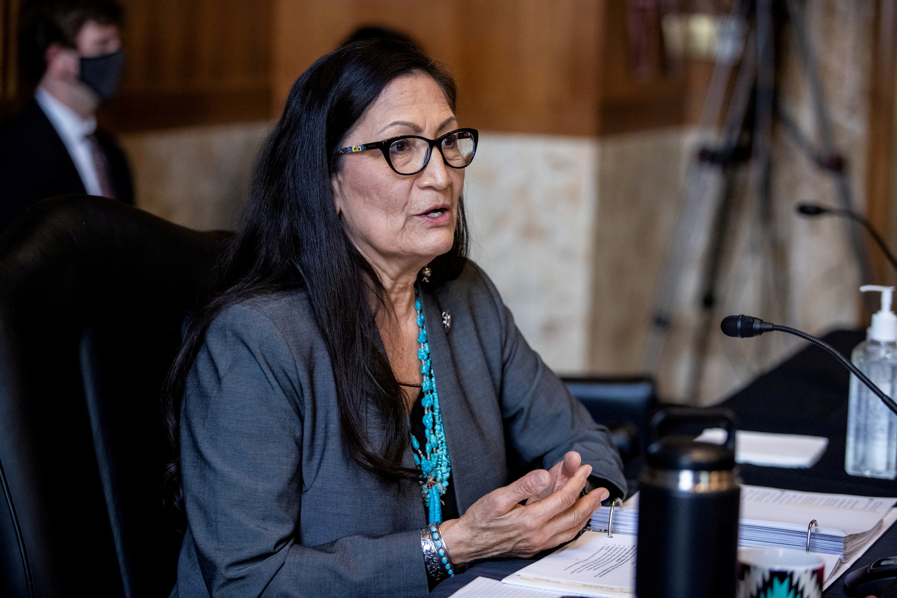 U.S. Rep. Deb Haaland speaks during a Senate Committee on Energy and Natural Resources hearing on her nomination to be Interior Secretary on Capitol Hill in Washington, DC, U.S. February 23, 2021.    Graeme Jennings/Pool via REUTERS/File Photo