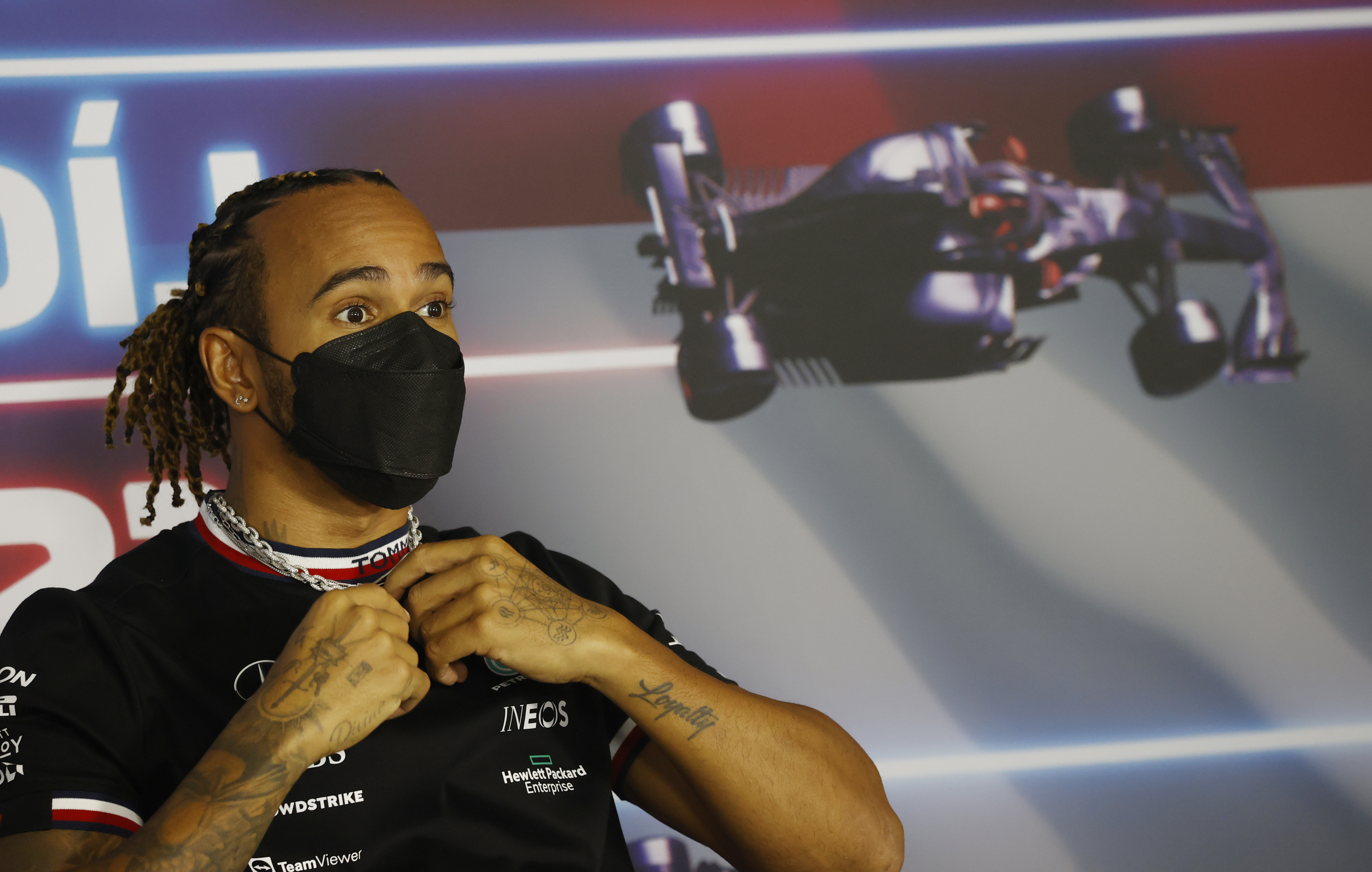 Formula One F1 - Hungarian Grand Prix - Hungaroring, Budapest, Hungary - July 29, 2021 Mercedes' Lewis Hamilton during a press conference ahead of the Hungarian Grand Prix Pool via REUTERS/Florion Goga