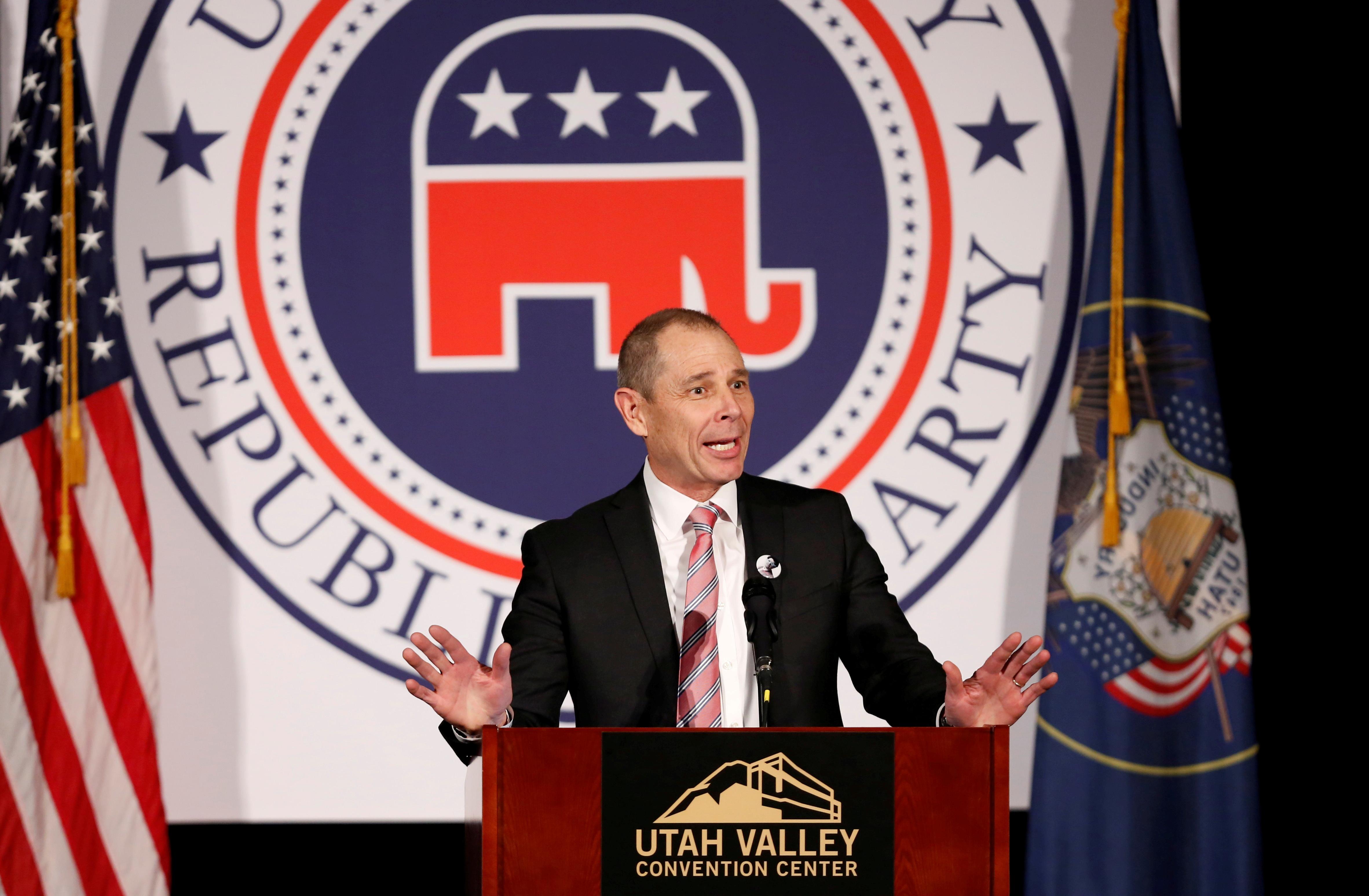U.S. Representative John Curtis (R-UT) speaks at the Utah County Republican Party Lincoln Day Dinner, in Provo, Utah, U.S. February 16, 2018. REUTERS/Jim Urquhart/File Photo