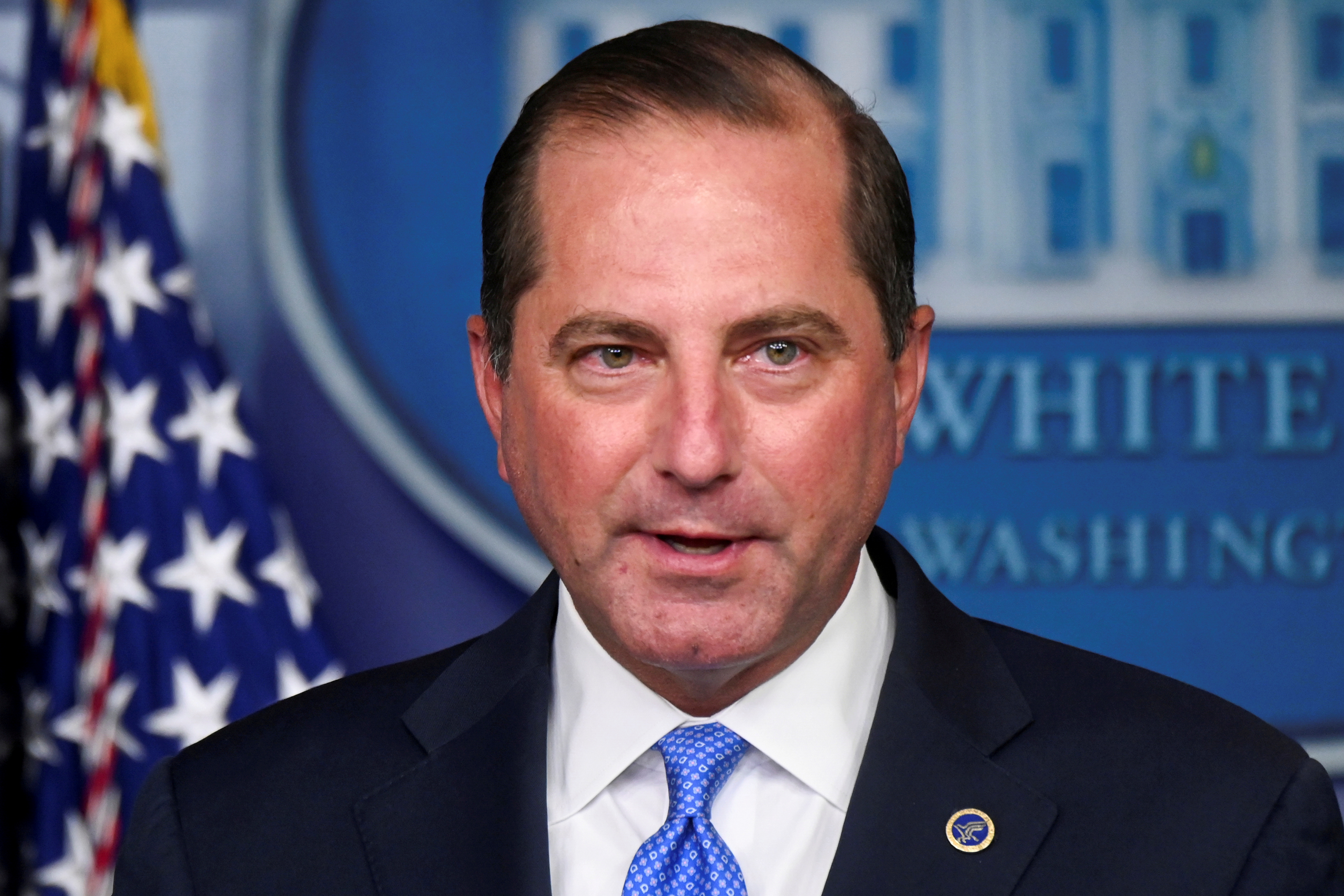 U.S. Health and Human Services (HHS) Secretary Alex Azar speaks during a news conference in the Brady Press Briefing Room of the White House in Washington, U.S. August 23, 2020. Picture taken August 23, 2020. REUTERS/Erin Scott
