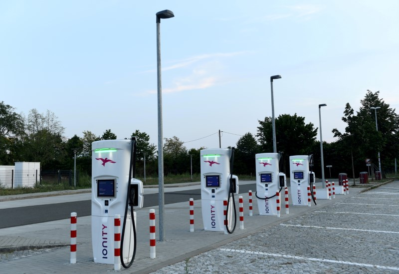 An Ionity electric vehicle charging station is pictured near Dresden, Germany, August 27, 2019. REUTERS/Annegret Hilse
