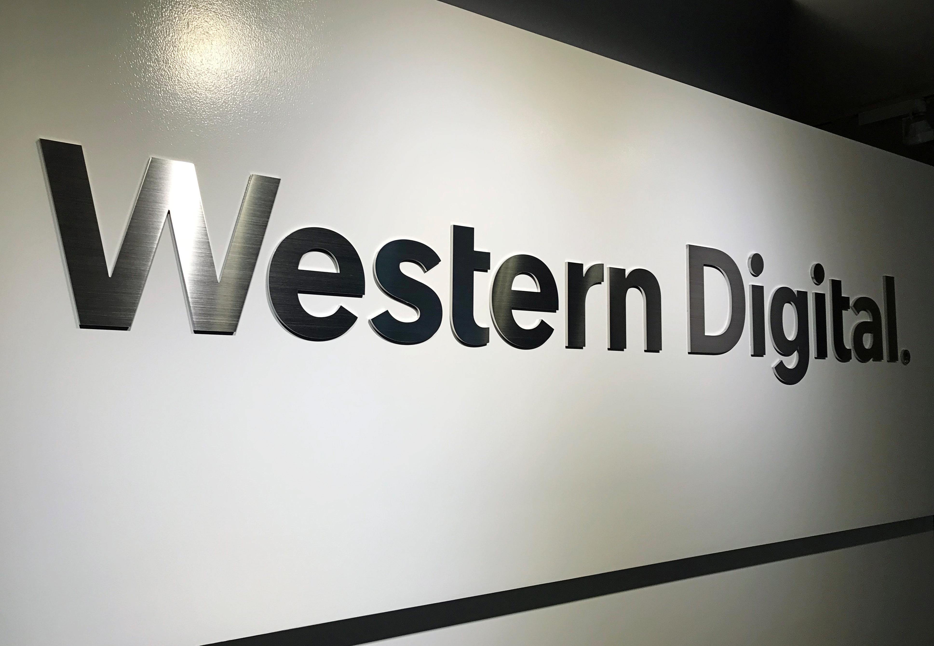 The logo of Western Digital Corporation is displayed at the company's headquarters in Tokyo, Japan, May 27, 2019. REUTERS/Yoshiyasu Shida