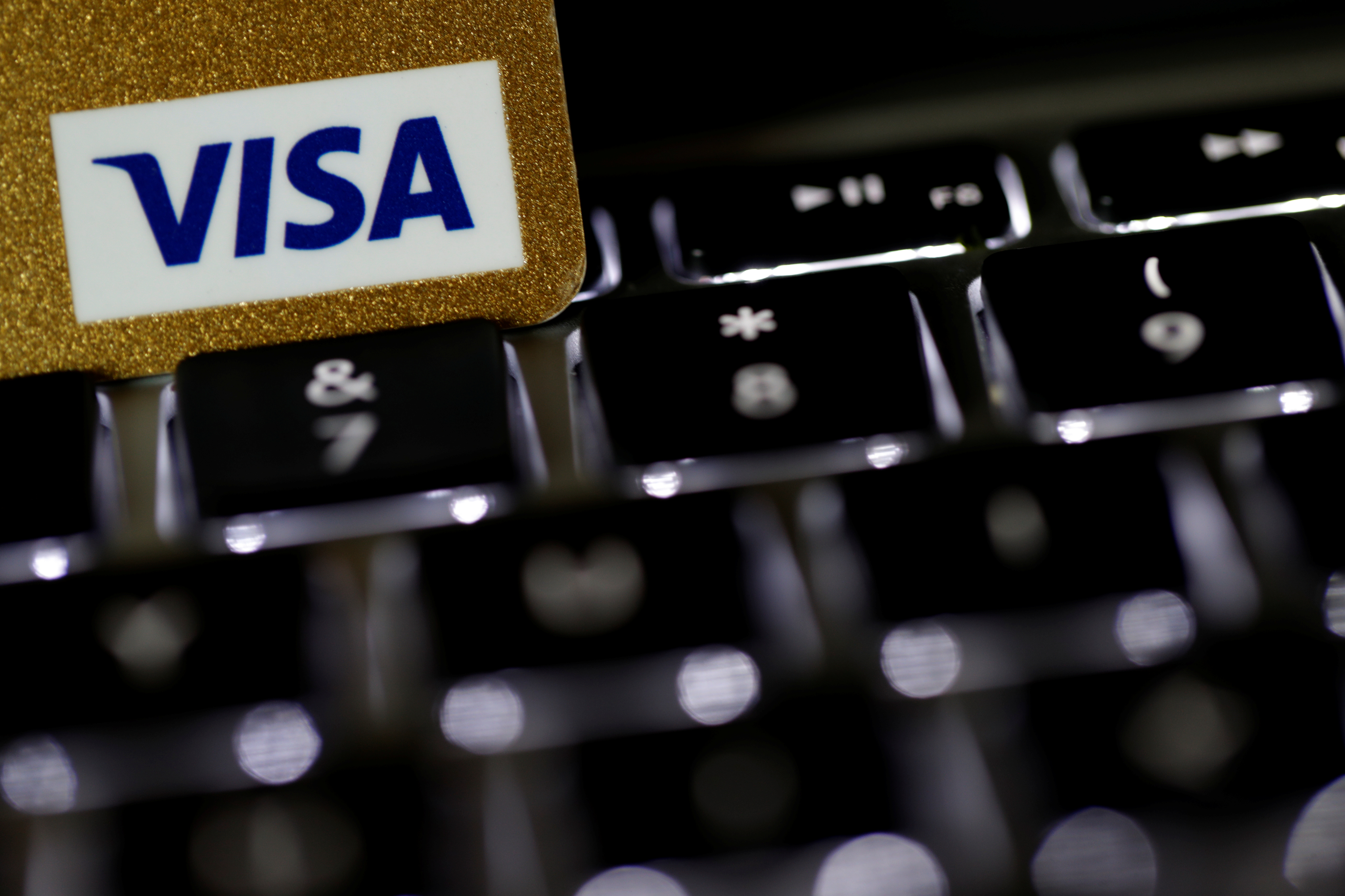 A Visa credit card is seen on a computer keyboard in this picture illustration taken September 6, 2017. REUTERS/Philippe Wojazer/Illustration - RC1909454680