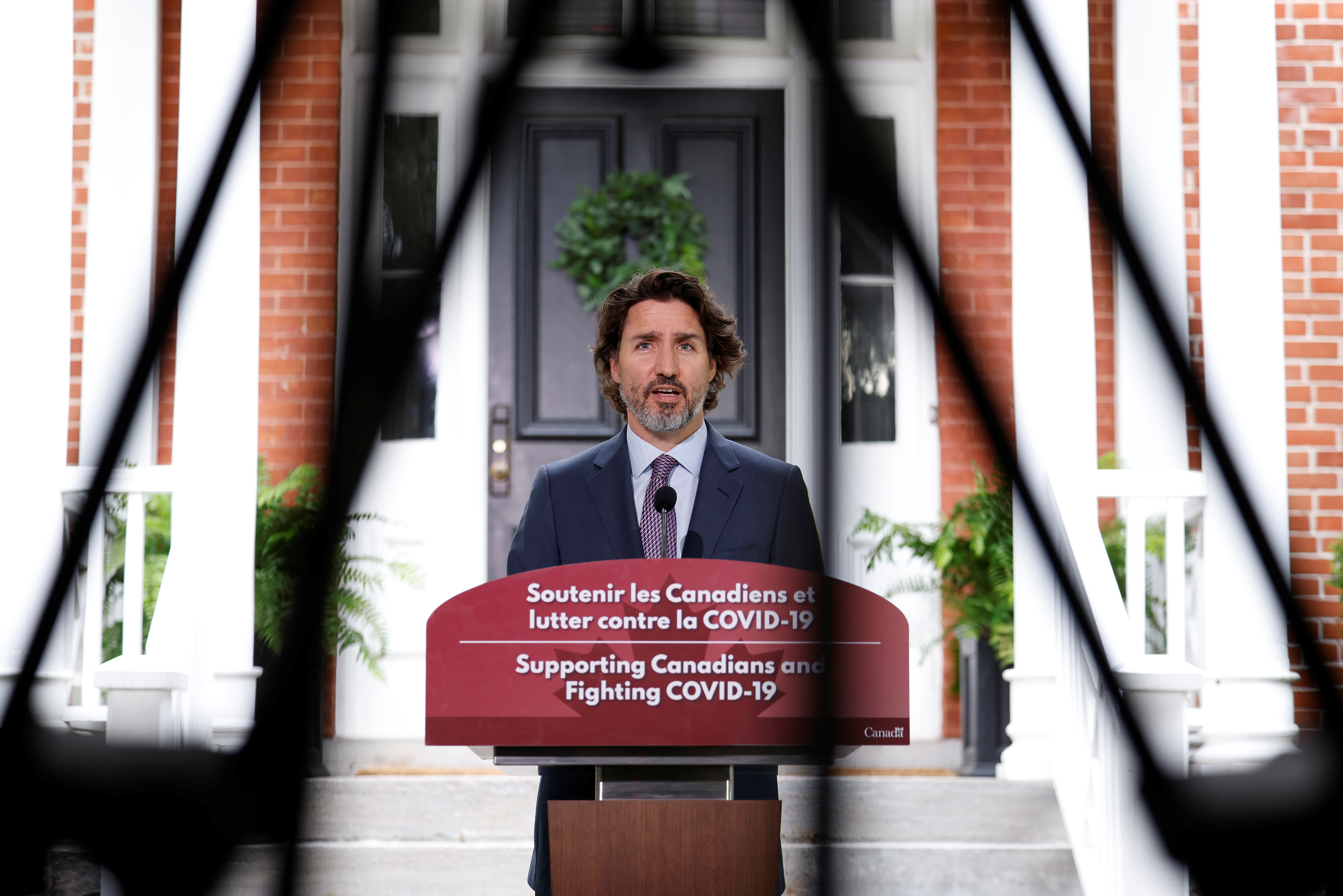 Canada's Prime Minister Justin Trudeau attends a news conference at Rideau Cottage during which, amongst other topics, he spoke about unmarked graves found recently, as efforts continue to help slow the spread of the coronavirus disease (COVID-19), in Ottawa, Ontario, Canada June 25, 2021. REUTERS/Blair Gable