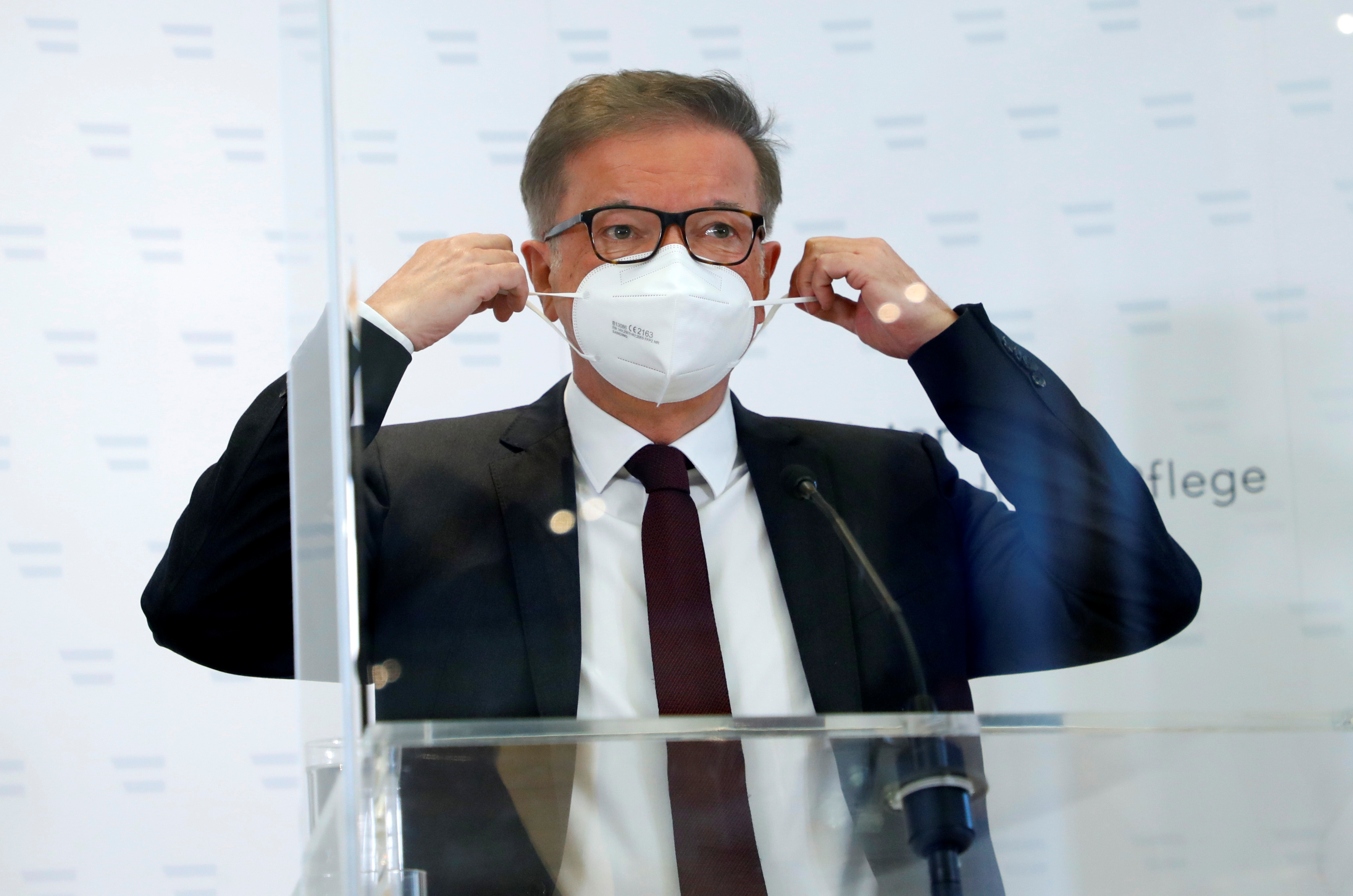 Austrian Health Minister Rudolf Anschober attends a news conference in Vienna, Austria, April 13, 2021. REUTERS/Leonhard Foeger