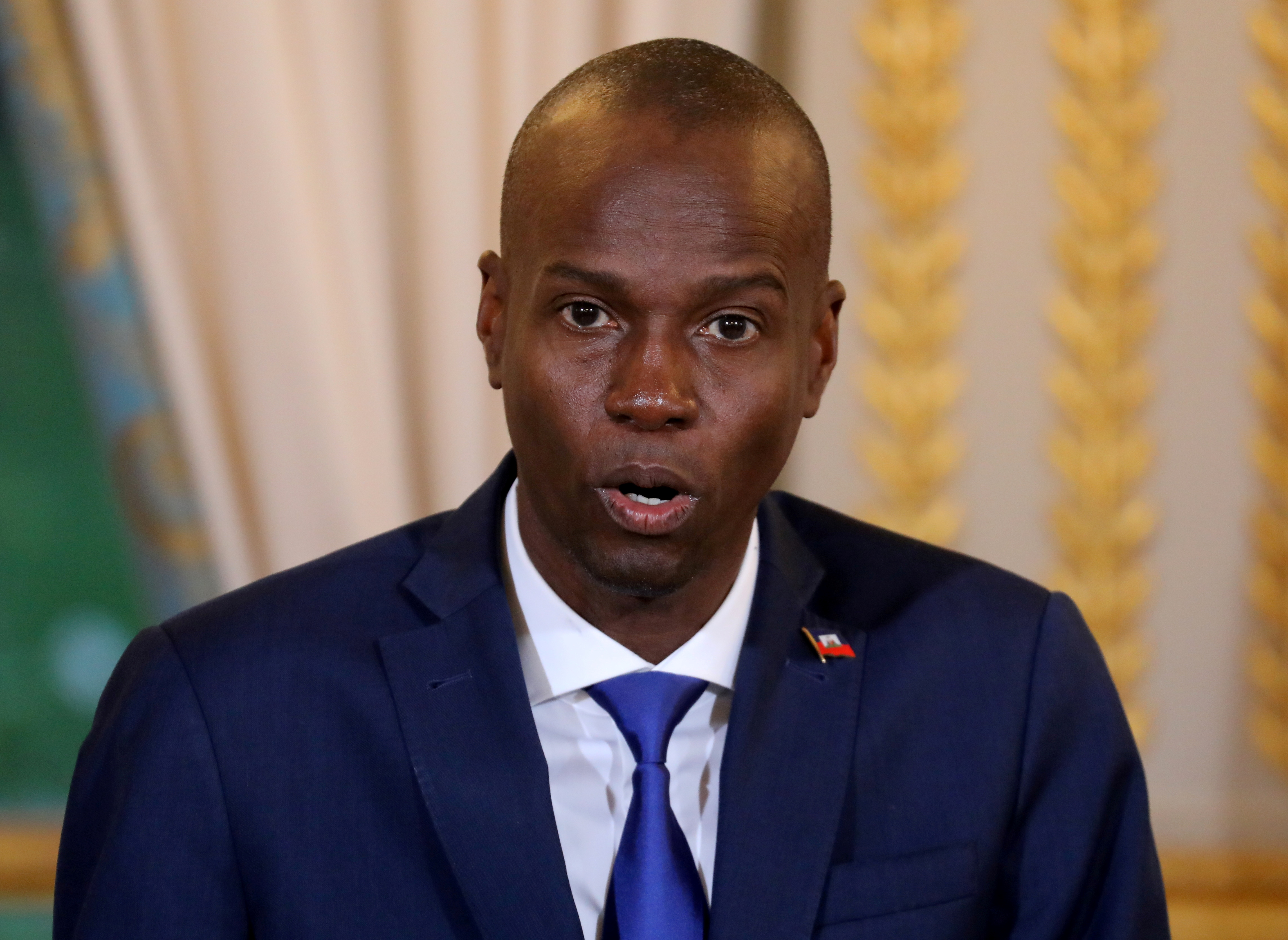 Haitian President Moise Jovenel speaks during a press conference at the Elysee Palace in Paris, France, December 11, 2017.  REUTERS/Ludovic Marin/Pool/File Photo