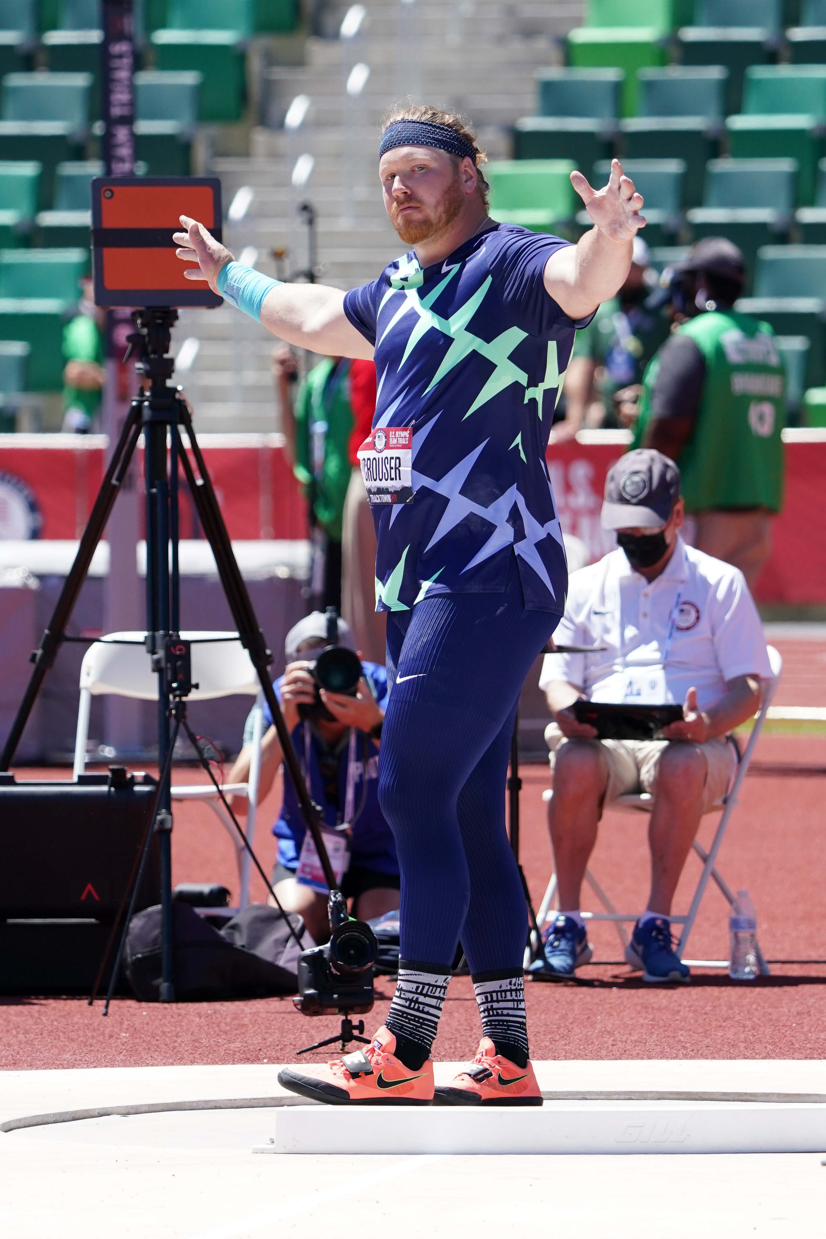 Jun 18, 2021; Eugene, OR, USA; Ryan Crouser celebrates after throwing a meet-record 75-2 (22.92M) for the top mark in the shot put qualifying  during the US Olympic Team Trials at Hayward Field. Mandatory Credit: Kirby Lee-USA TODAY Sports