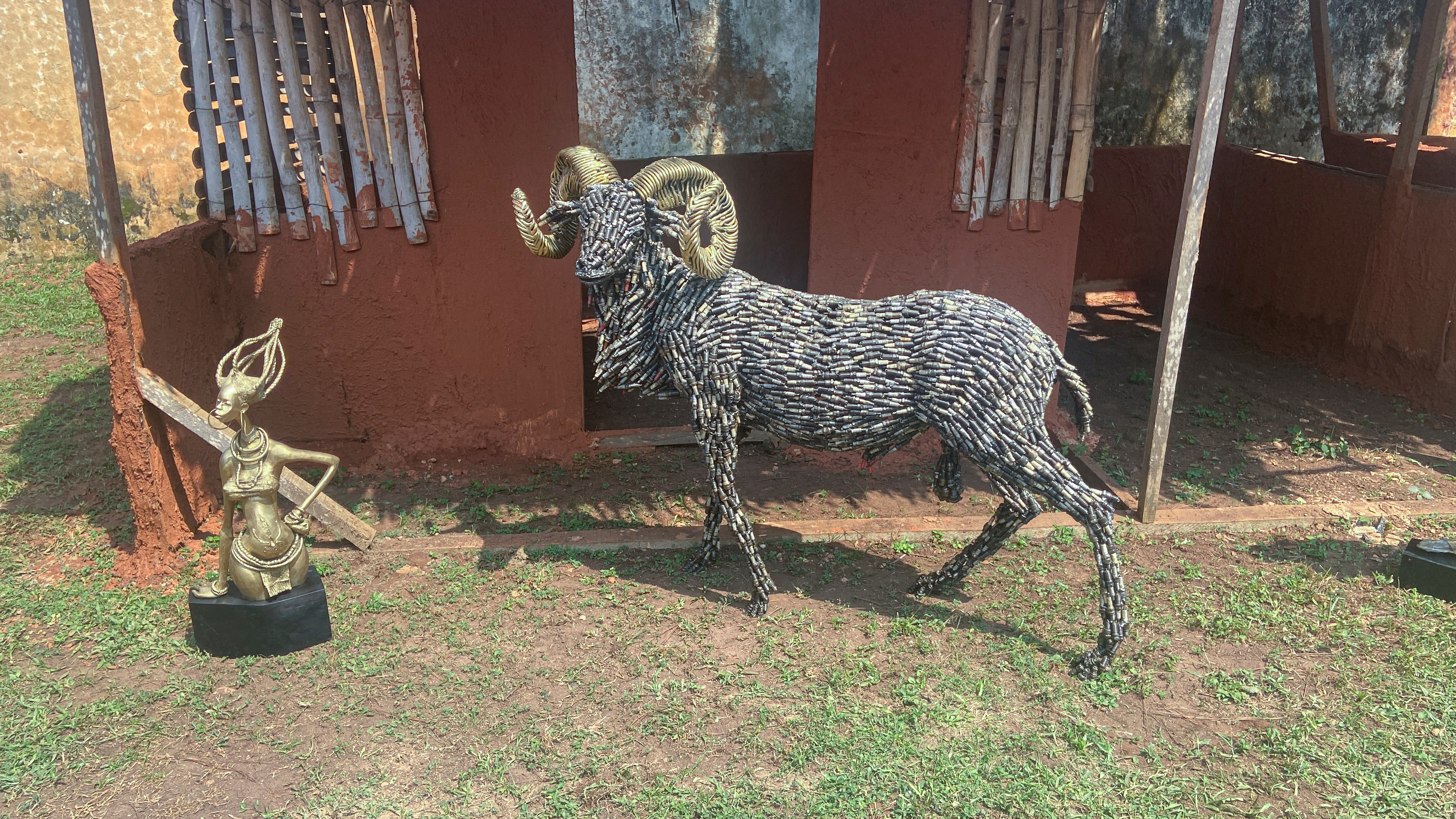 A life-size ram made from spark plugs, one of the artworks offered to the British Museum by Nigerian artists, is displayed in Benin City, Nigeria, July 31, 2021. REUTERS/Tife Owolabi