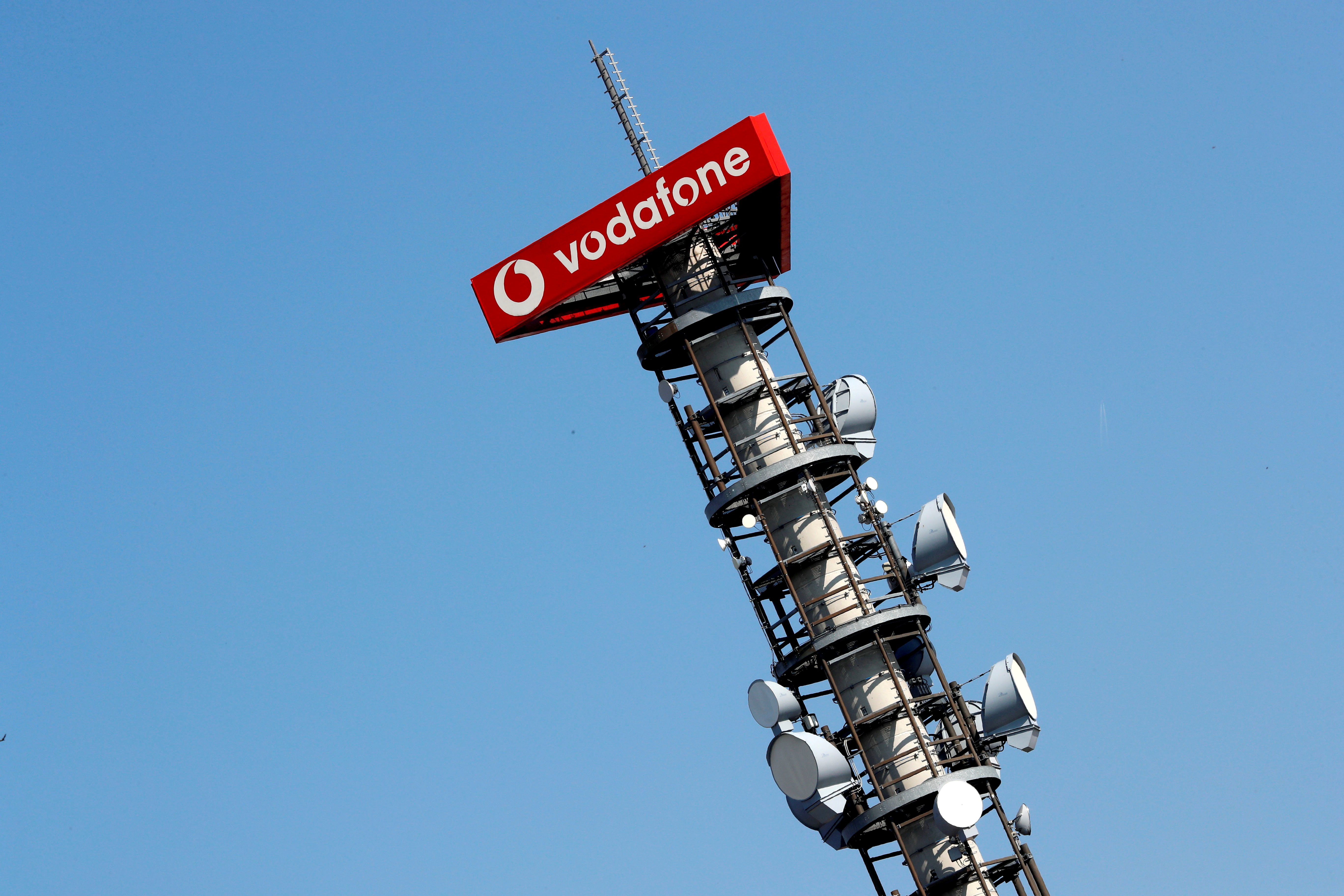 Different types of 4G, 5G and data radio relay antennas for mobile phone networks are pictured on a relay mast operated by Vodafone in Berlin, Germany April 8, 2019. REUTERS/Fabrizio Bensch/File Photo