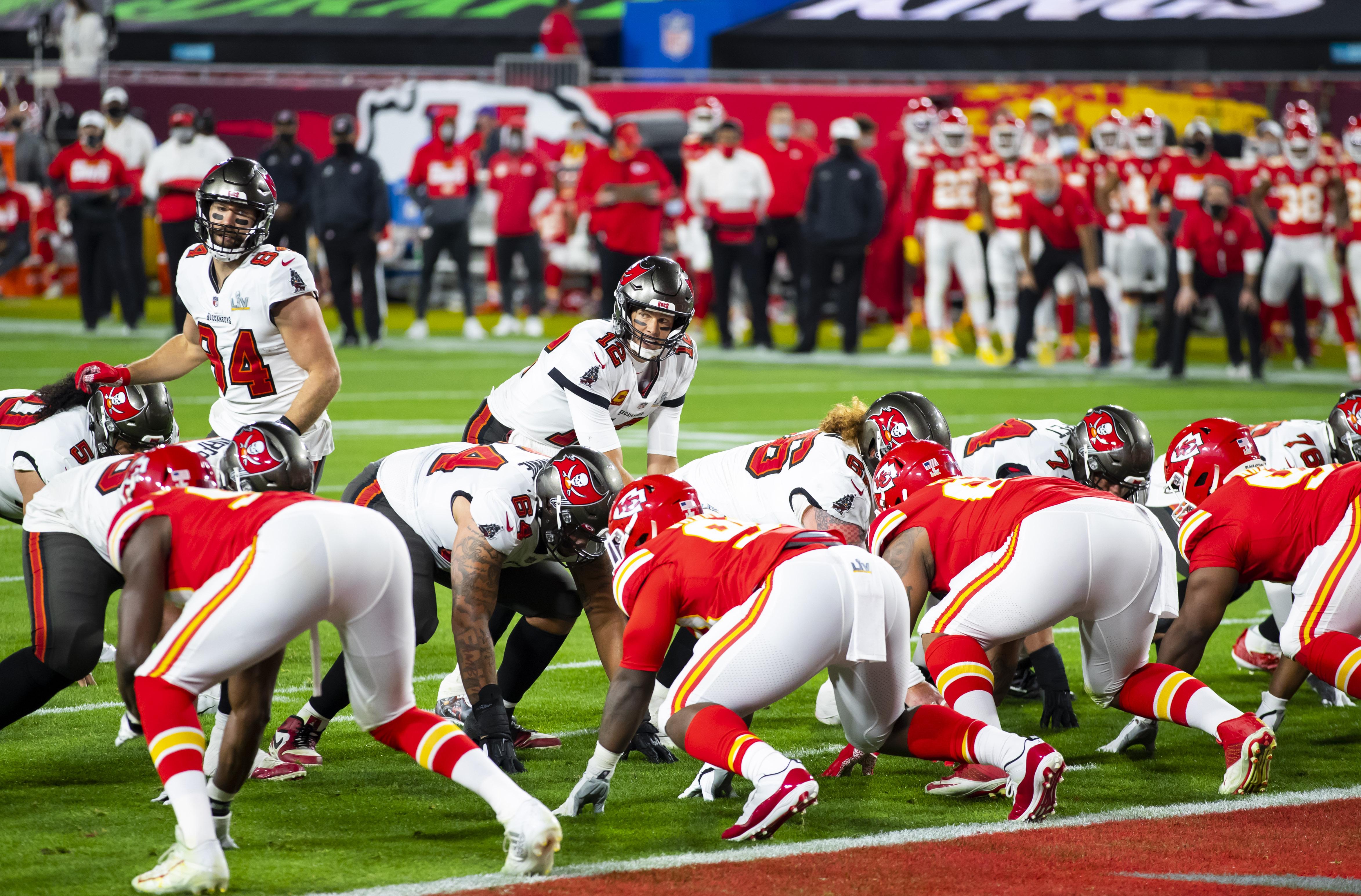 Feb 4, 2021; Tampa, FL, USA;  Tampa Bay Buccaneers quarterback Tom Brady (12) against the Kansas City Chiefs in Super Bowl LV at Raymond James Stadium.  / Mark J. Rebilas-USA TODAY Sports/File Photo